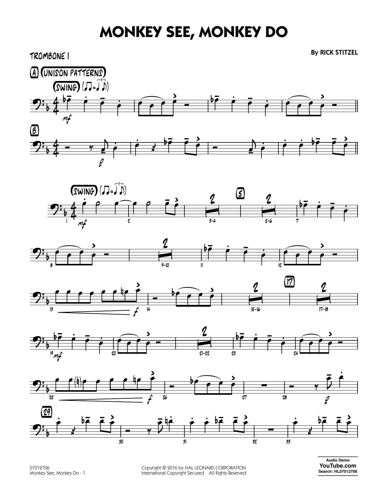 Monkey See, Monkey Do - Trombone 1 (Jazz Ensemble)