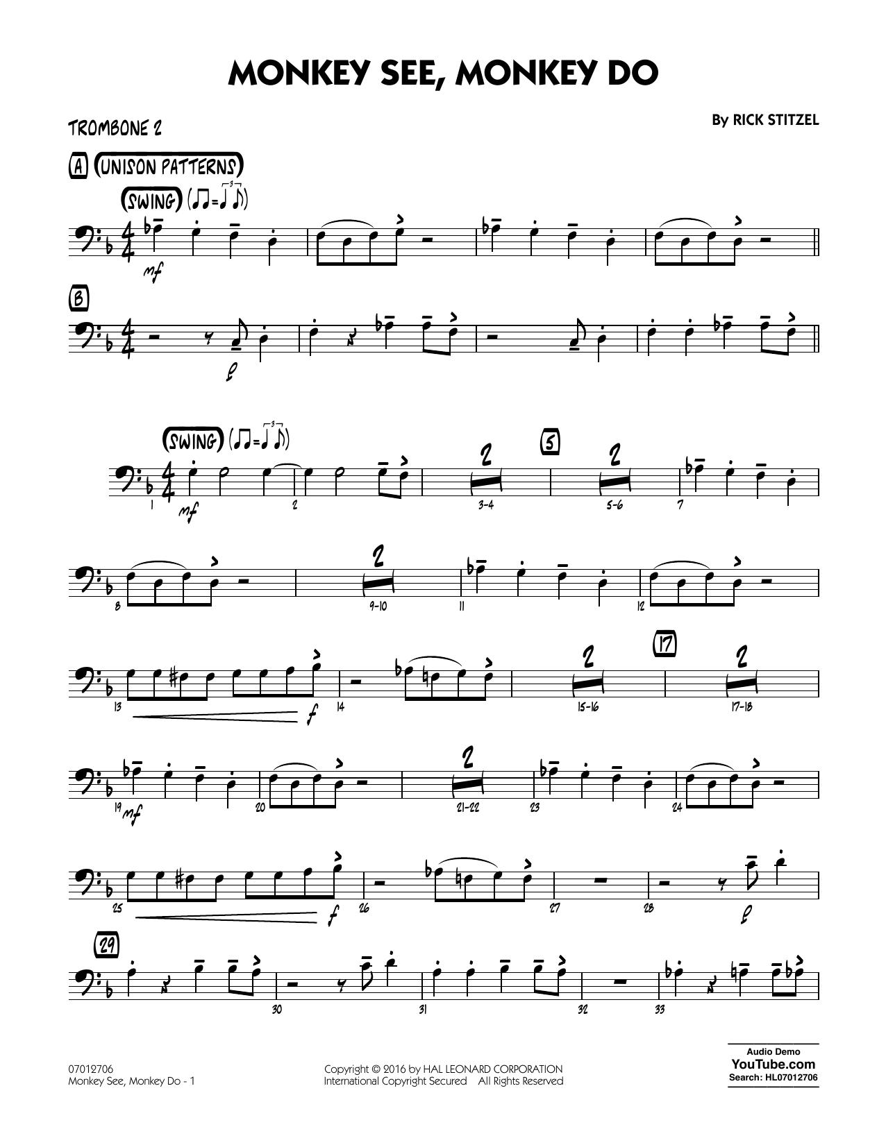 Monkey See, Monkey Do - Trombone 2 (Jazz Ensemble)