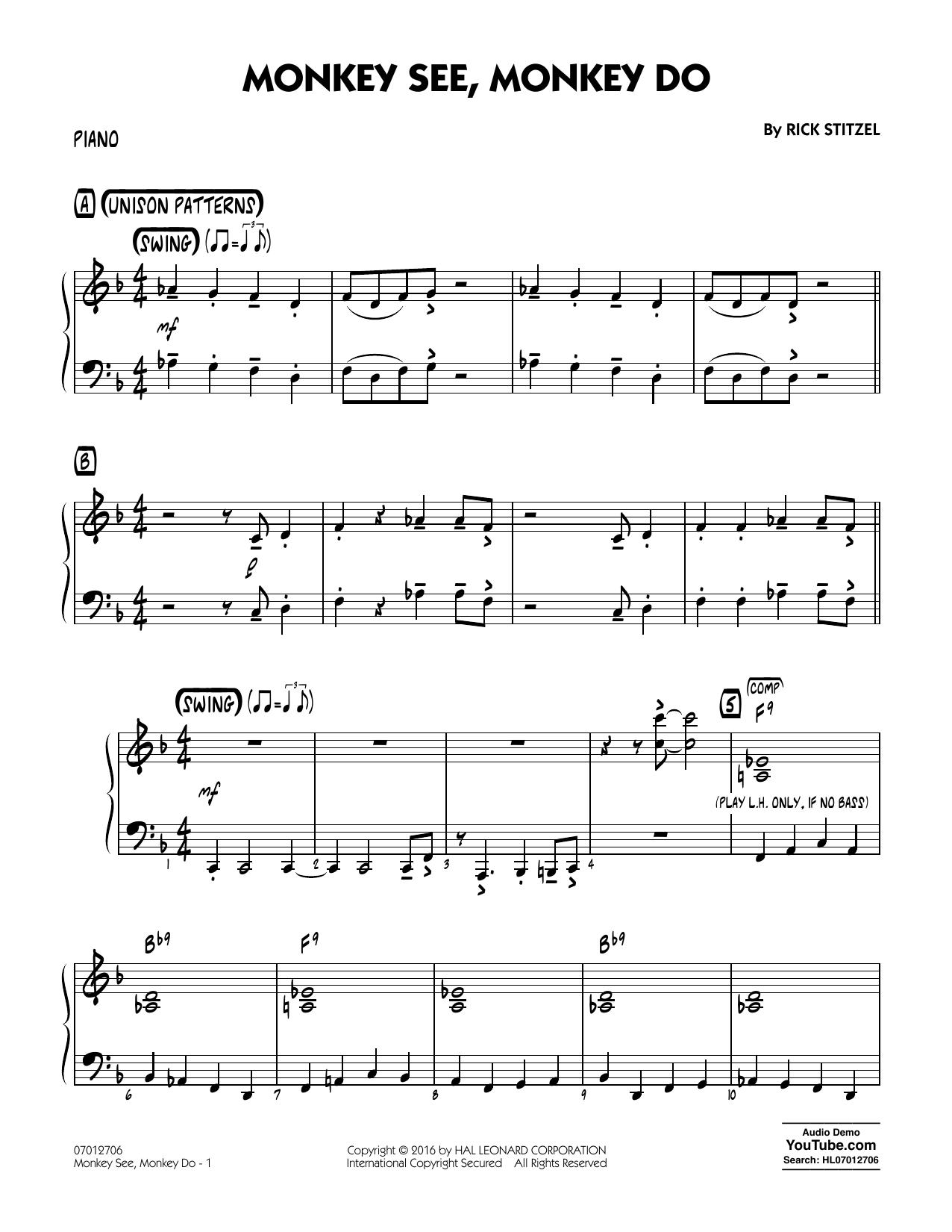 Monkey See, Monkey Do - Piano (Jazz Ensemble)