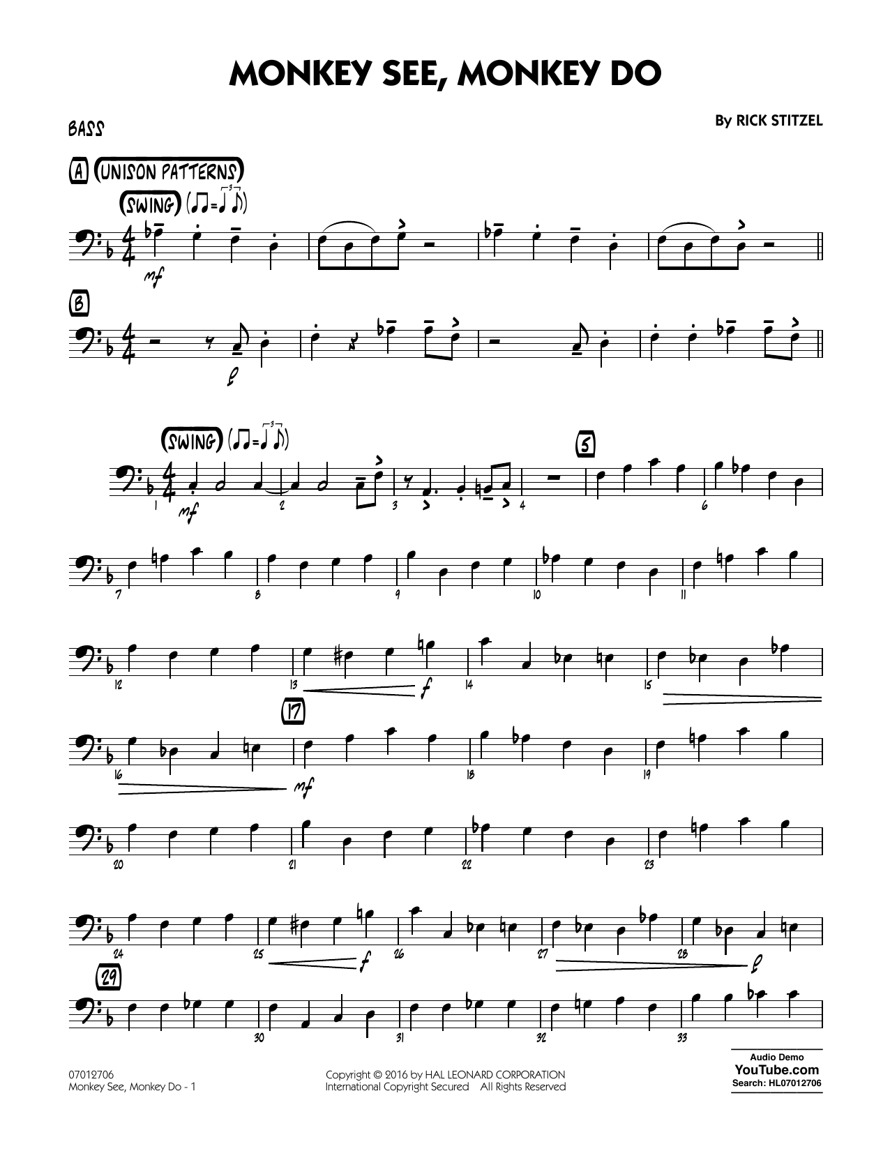 Monkey See, Monkey Do - Bass (Jazz Ensemble)