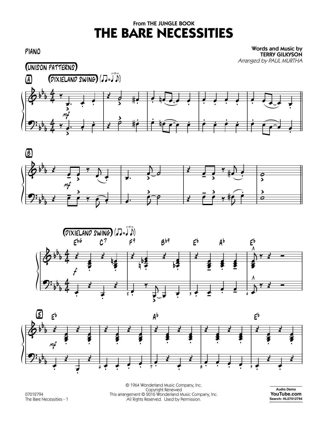 Swing Jazz Piano Sheet Music