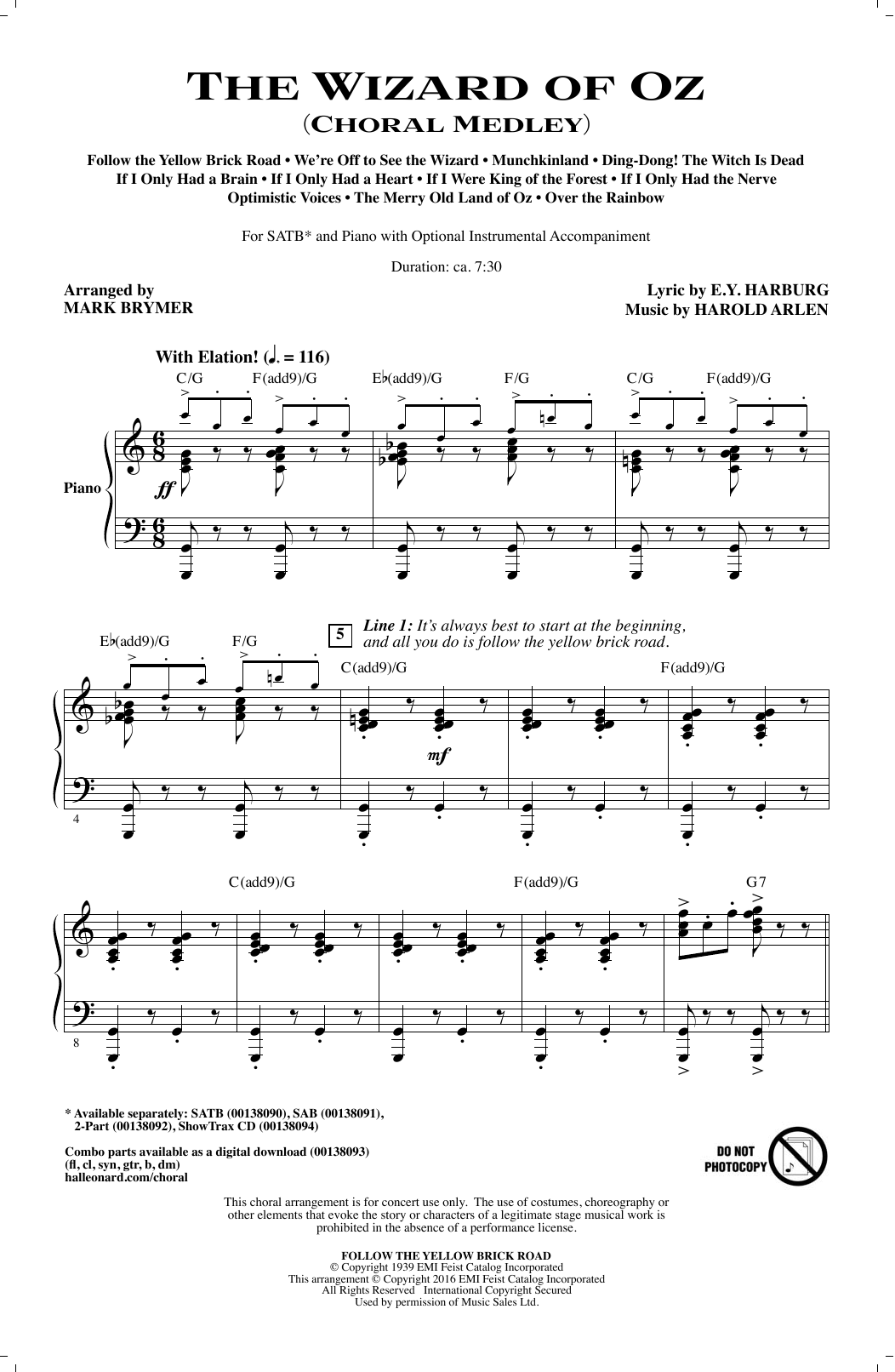 Partition chorale The Wizard of Oz (Choral Medley) de Mark Brymer - SATB