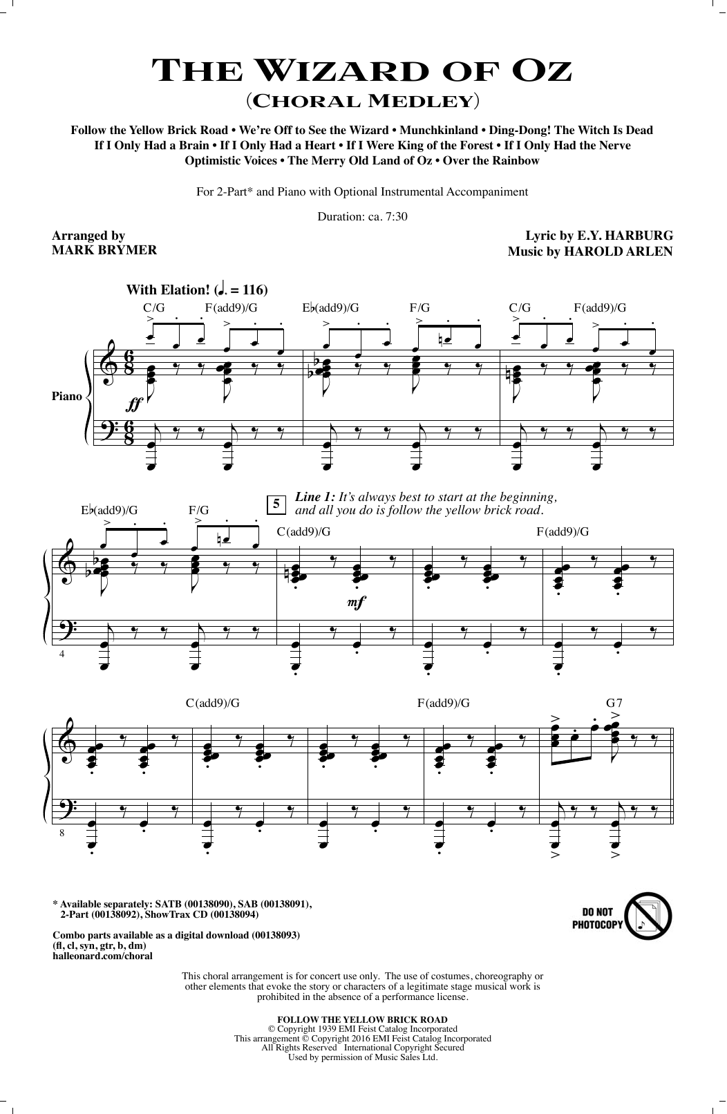 The Wizard of Oz (Choral Medley) (2-Part Choir)