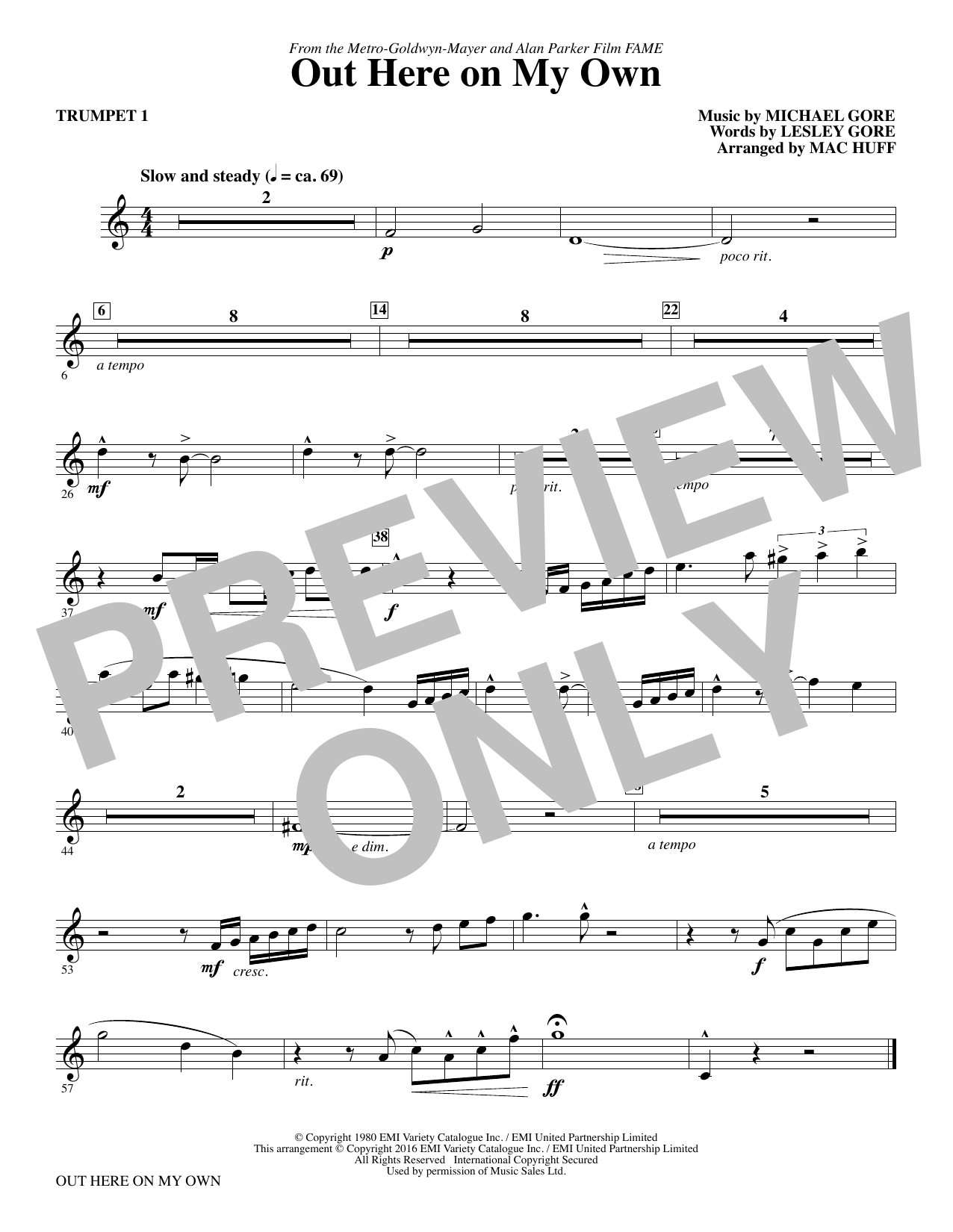 Out Here on My Own (complete set of parts) sheet music for orchestra/band by Mac Huff, Lesley Gore and Michael Gore. Score Image Preview.