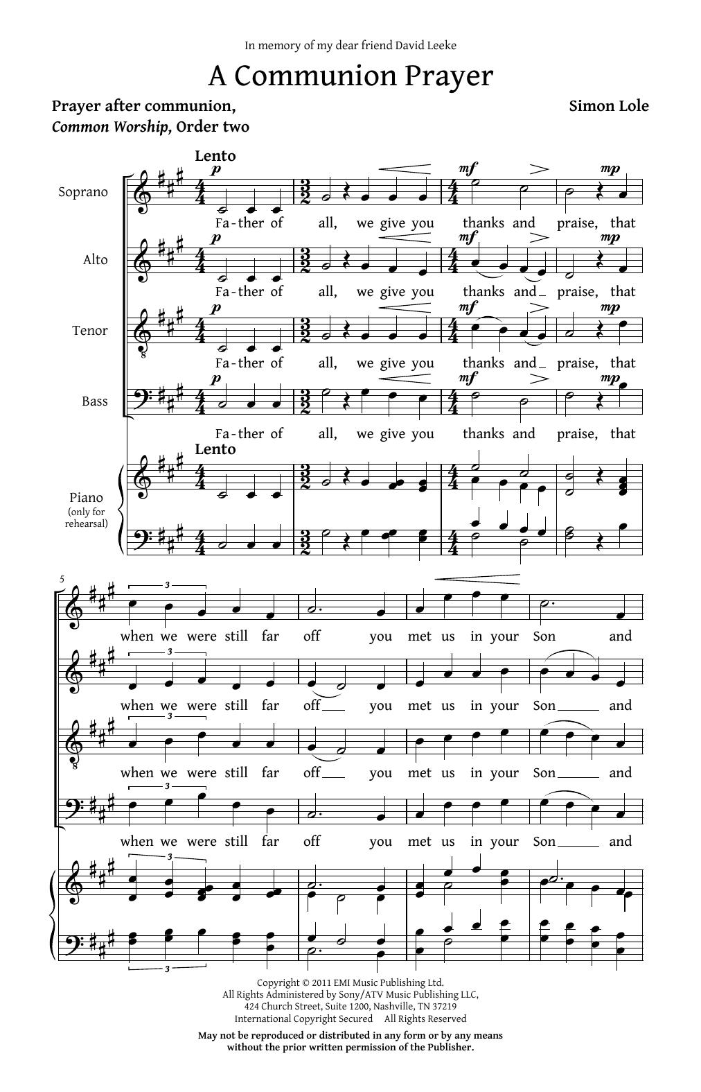Partition chorale A Communion Prayer de Simon Lole - SATB