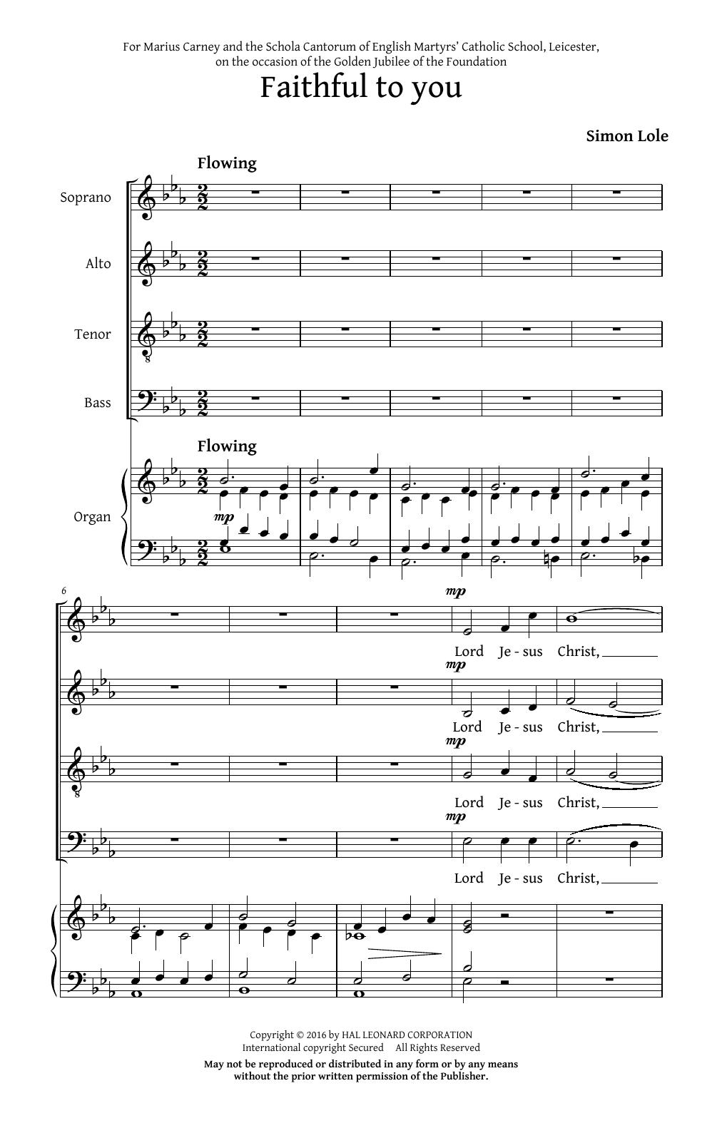 Partition chorale Faithful To You de Simon Lole - SATB