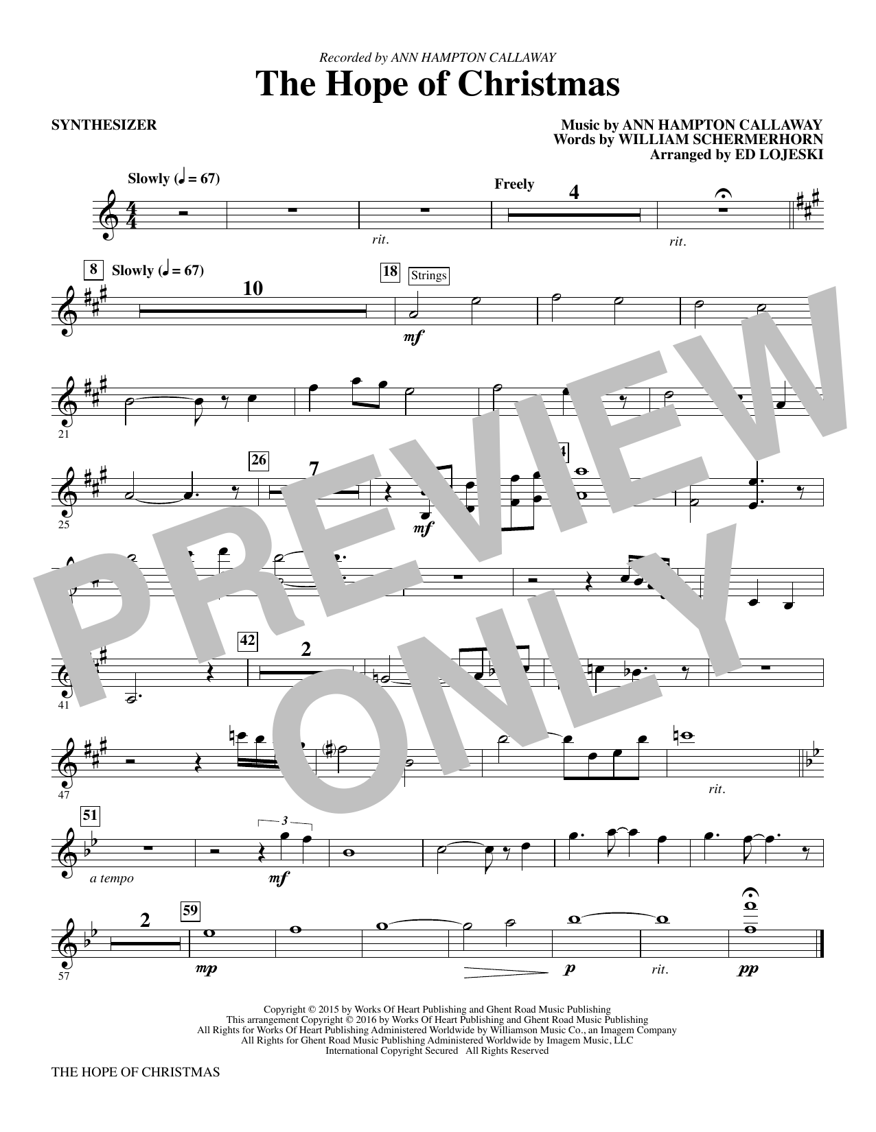 The Hope of Christmas (complete set of parts) sheet music for orchestra/band by Ann Hampton Callaway and William Schermerhorn. Score Image Preview.