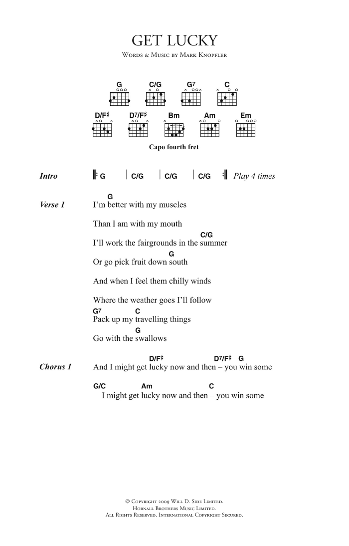Get Lucky by Mark Knopfler - Guitar Chords/Lyrics - Guitar Instructor
