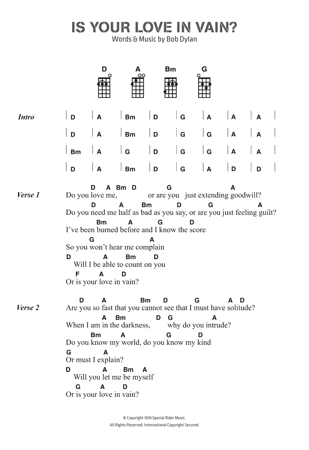 Is Your Love In Vain Sheet Music