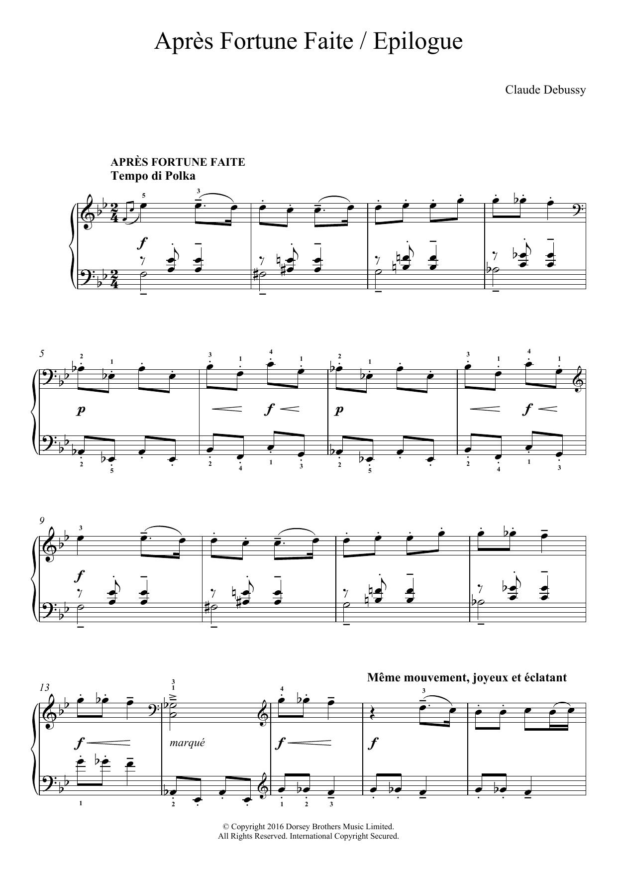 Apres Fortune Faite/ Epilogue Sheet Music