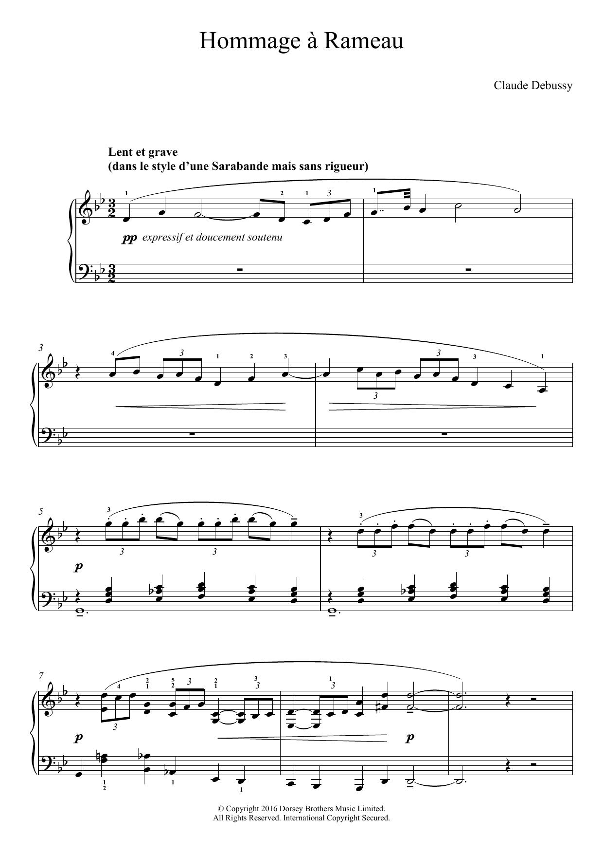 Hommage a Rameau Sheet Music