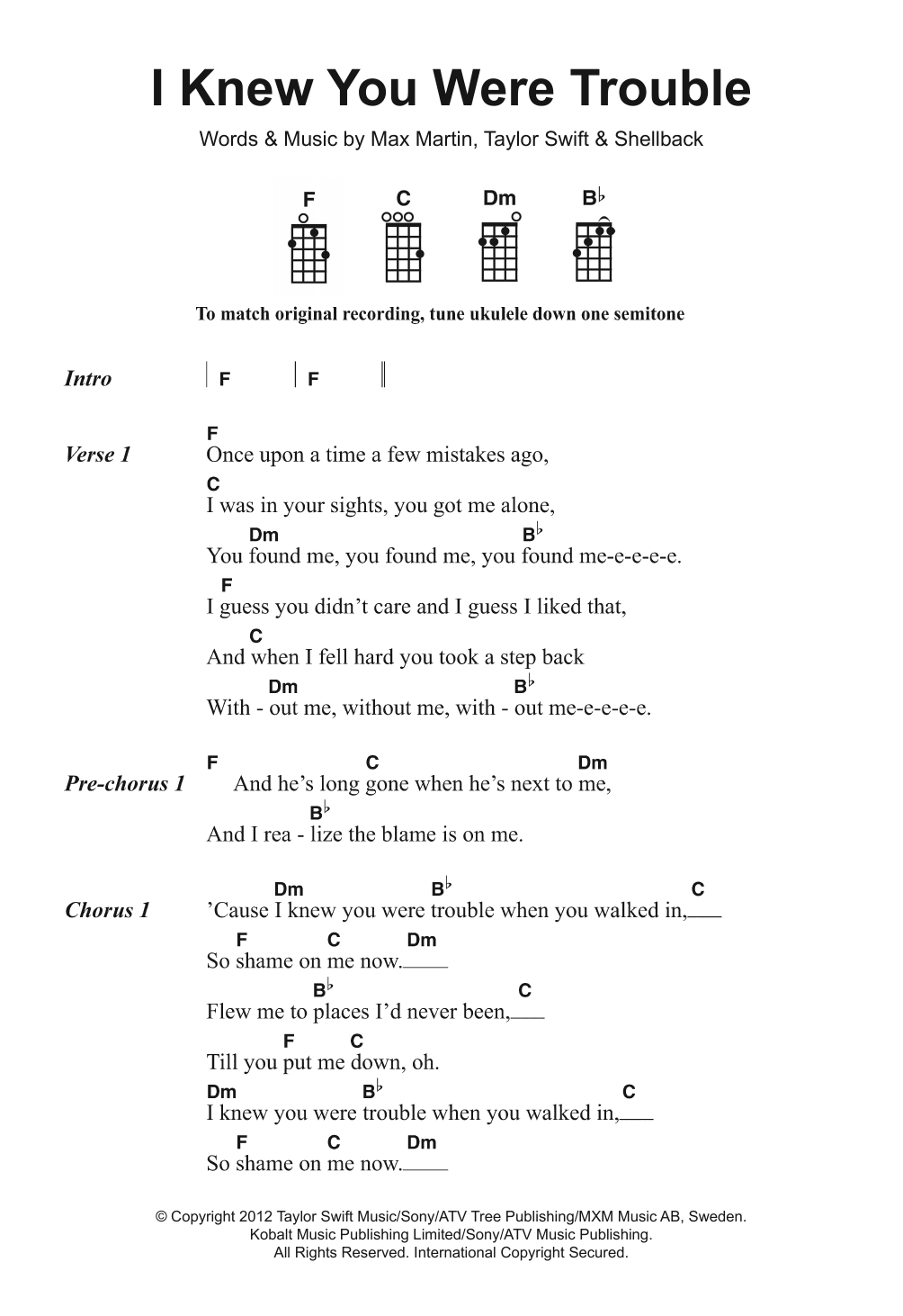 I Knew You Were Trouble Sheet Music