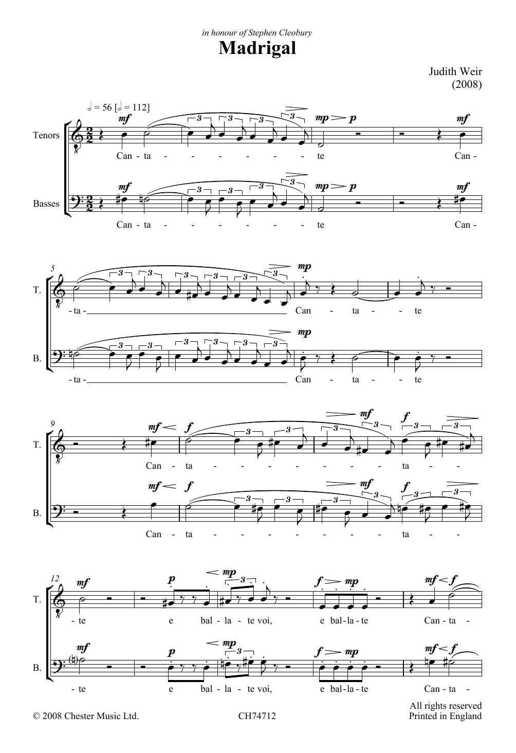 Madrigal Sheet Music