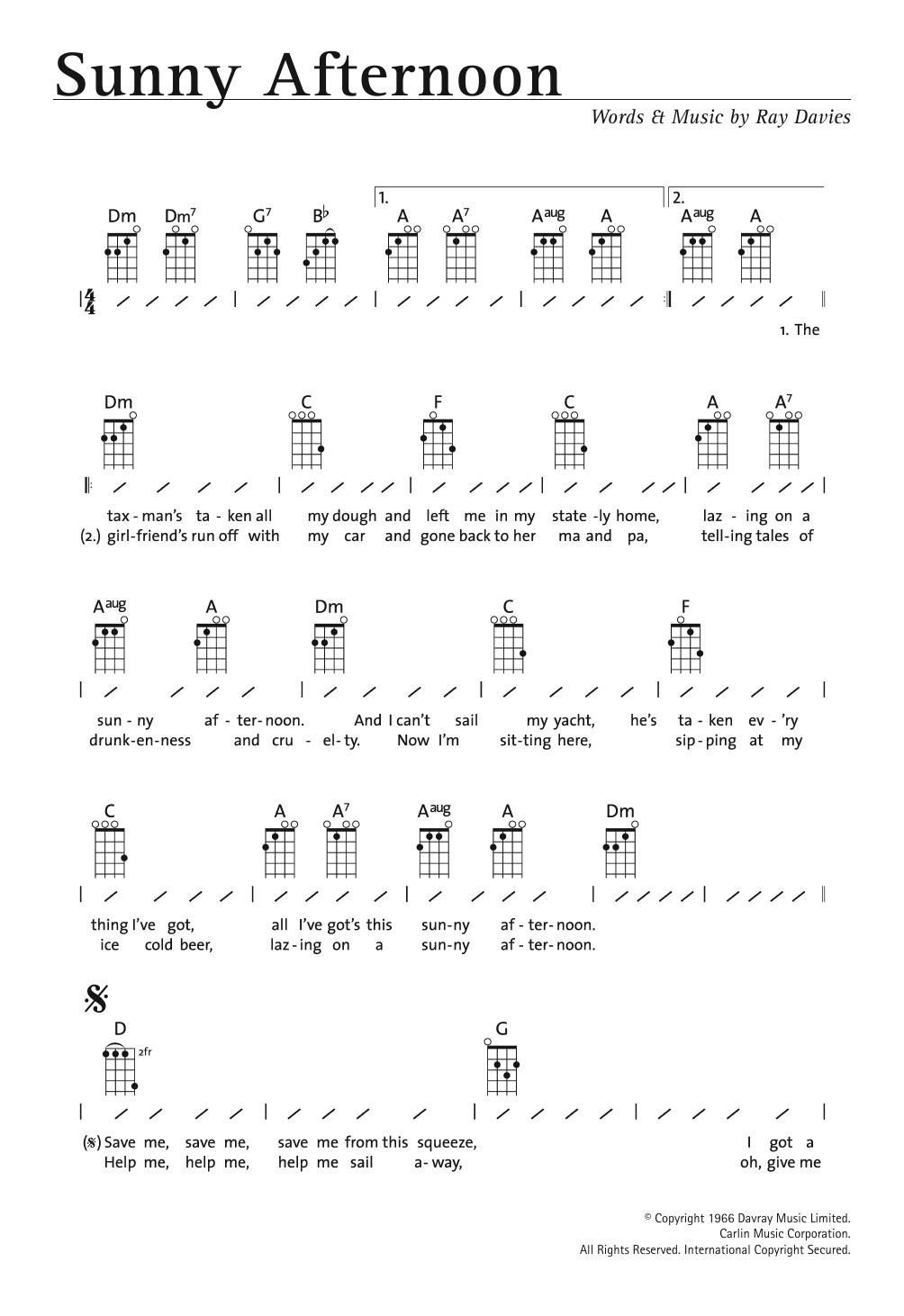 Sunny Afternoon Sheet Music The Kinks Ukulele With Strumming