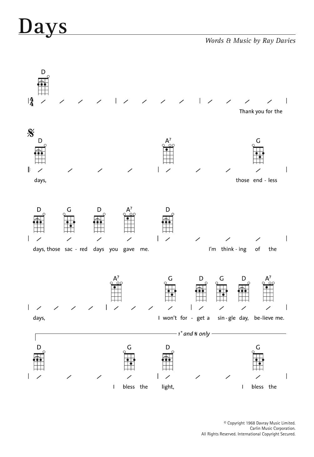 Days Sheet Music