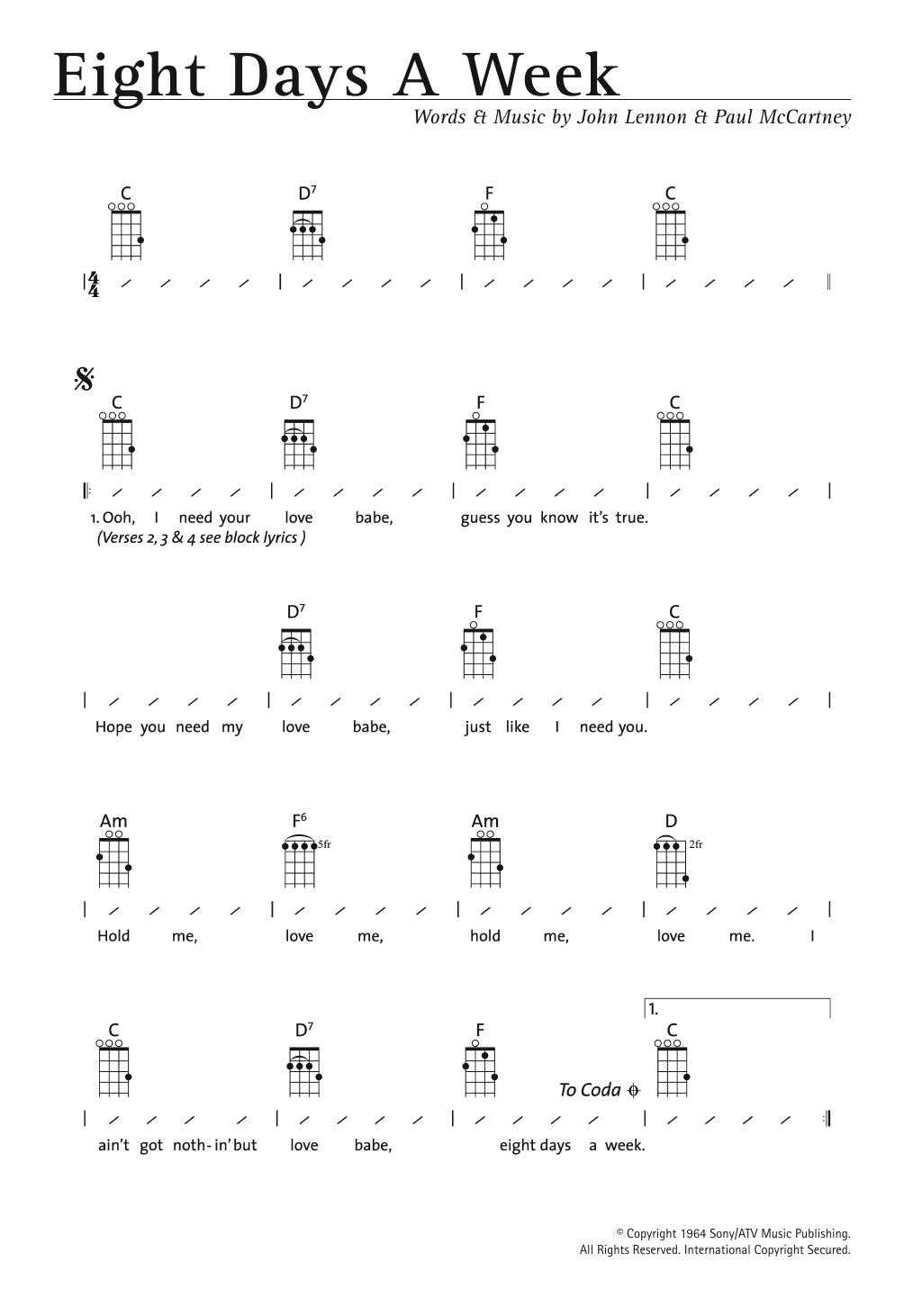 Eight Days A Week (Ukulele Chords/Lyrics)