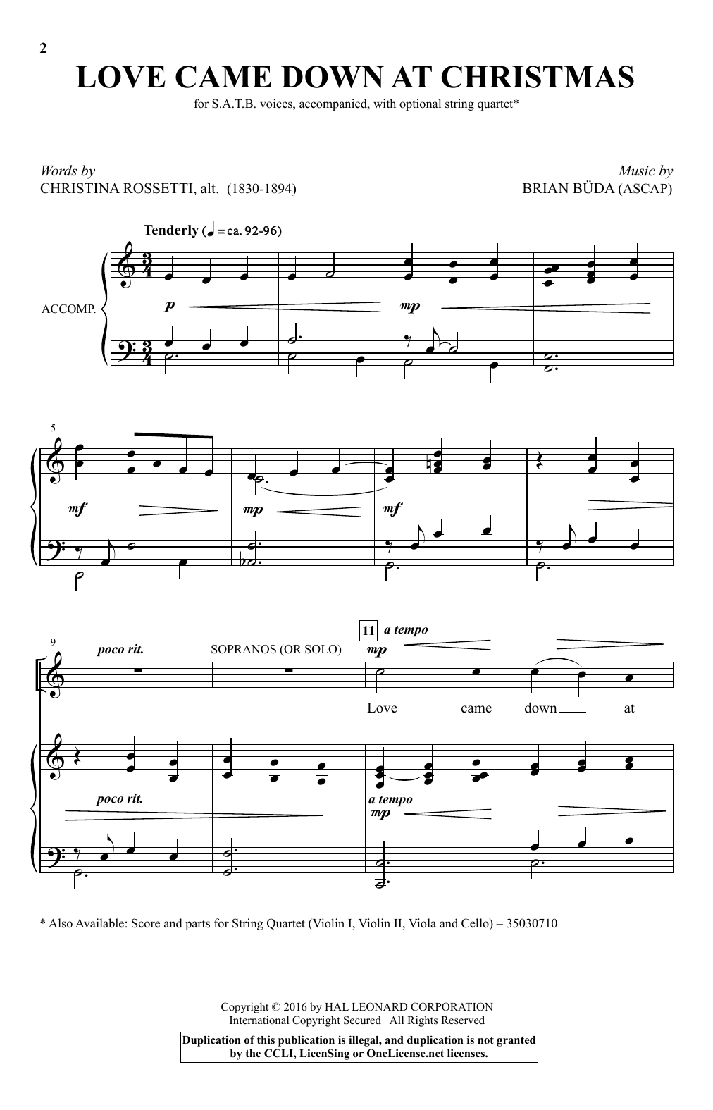 Partition chorale Love Came Down At Christmas de Brian Büda - SATB