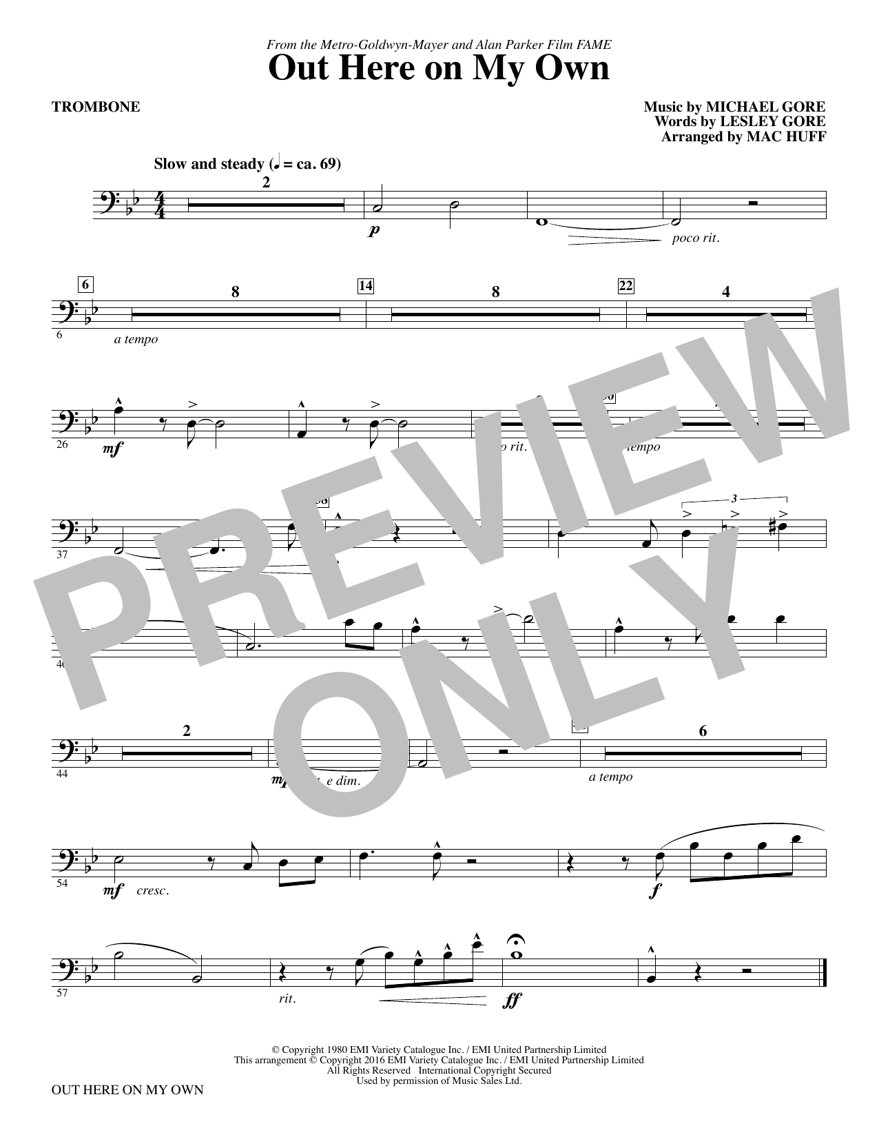 Out Here on My Own - Trombone Sheet Music
