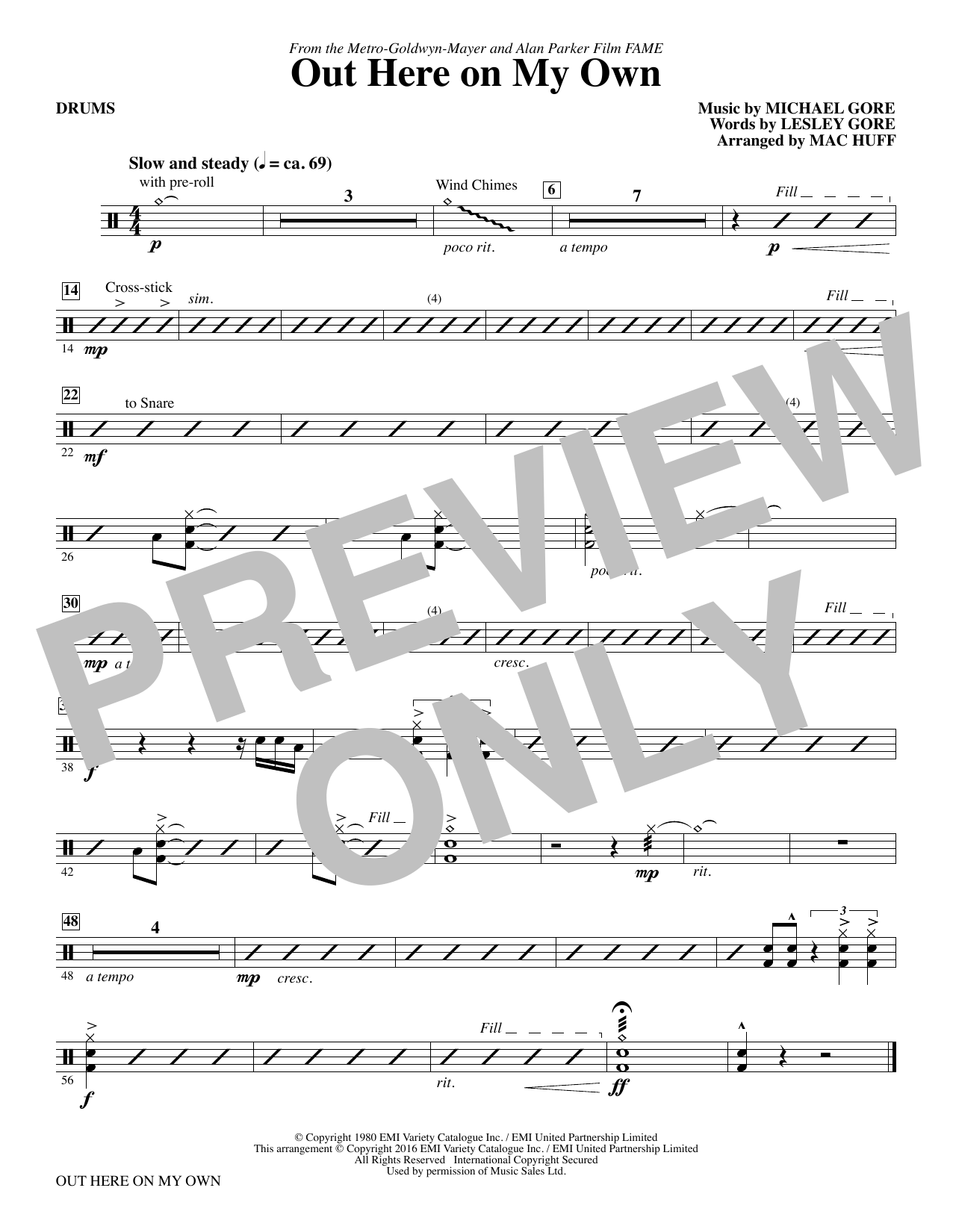 Out Here on My Own - Drums Sheet Music