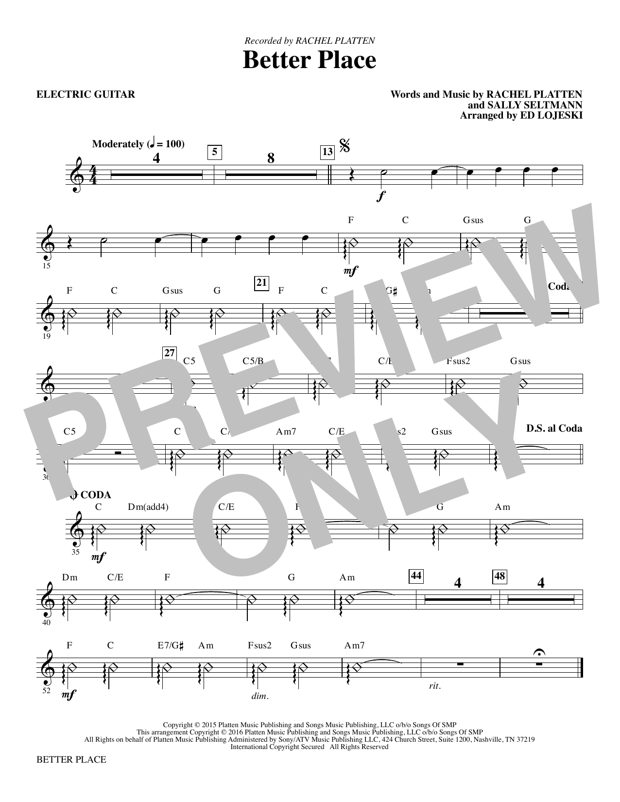 Better Place - Electric Guitar Sheet Music