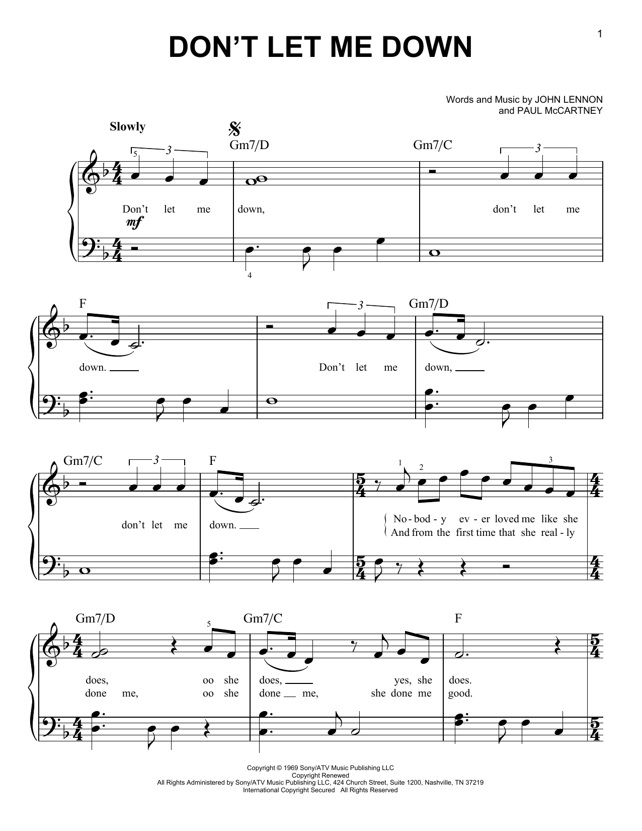 don 39 t let me down sheet music by the beatles easy piano 171771. Black Bedroom Furniture Sets. Home Design Ideas
