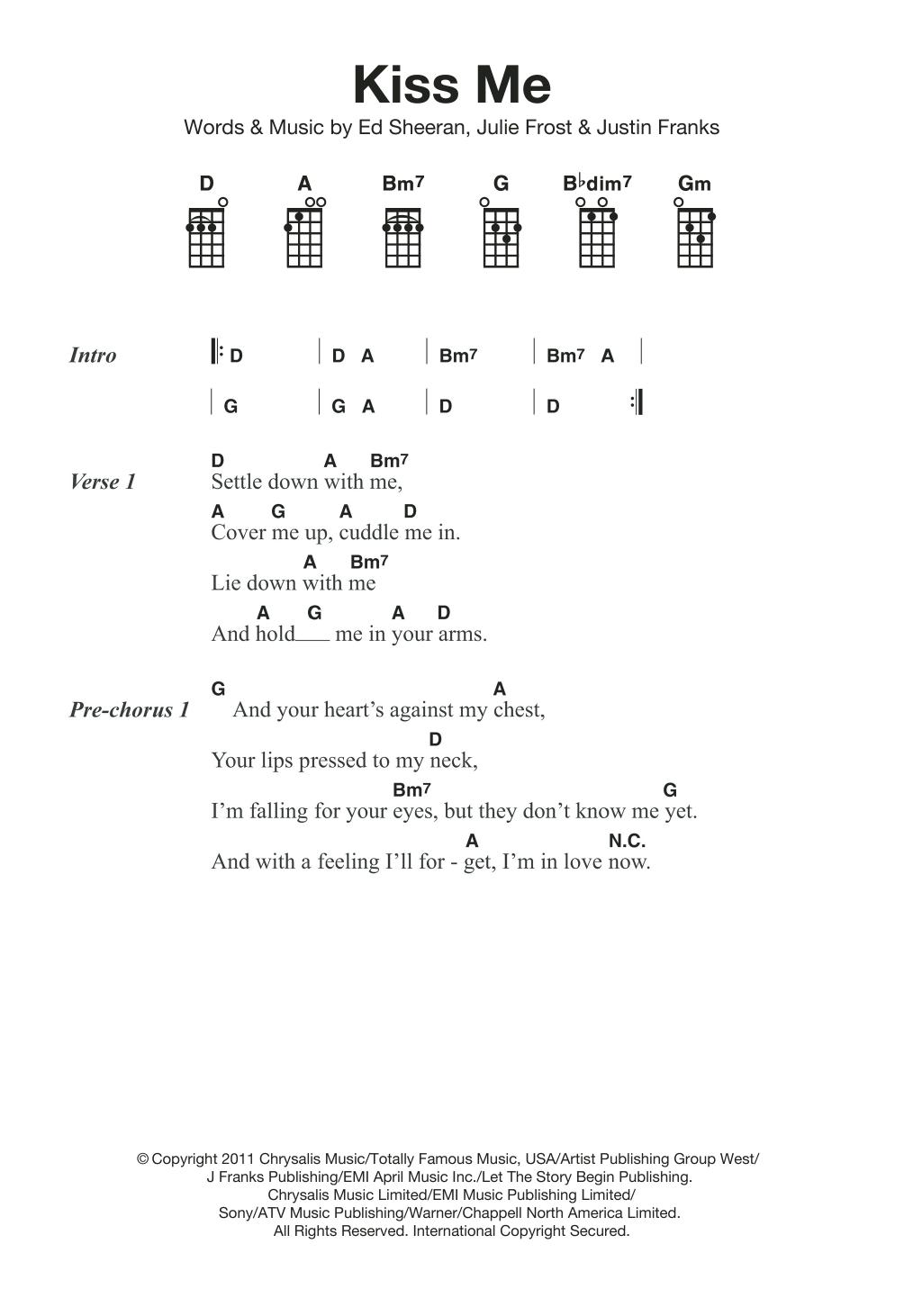Kiss Me by Ed Sheeran Piano, Vocal & Guitar Right Hand Melody Digital  Sheet Music