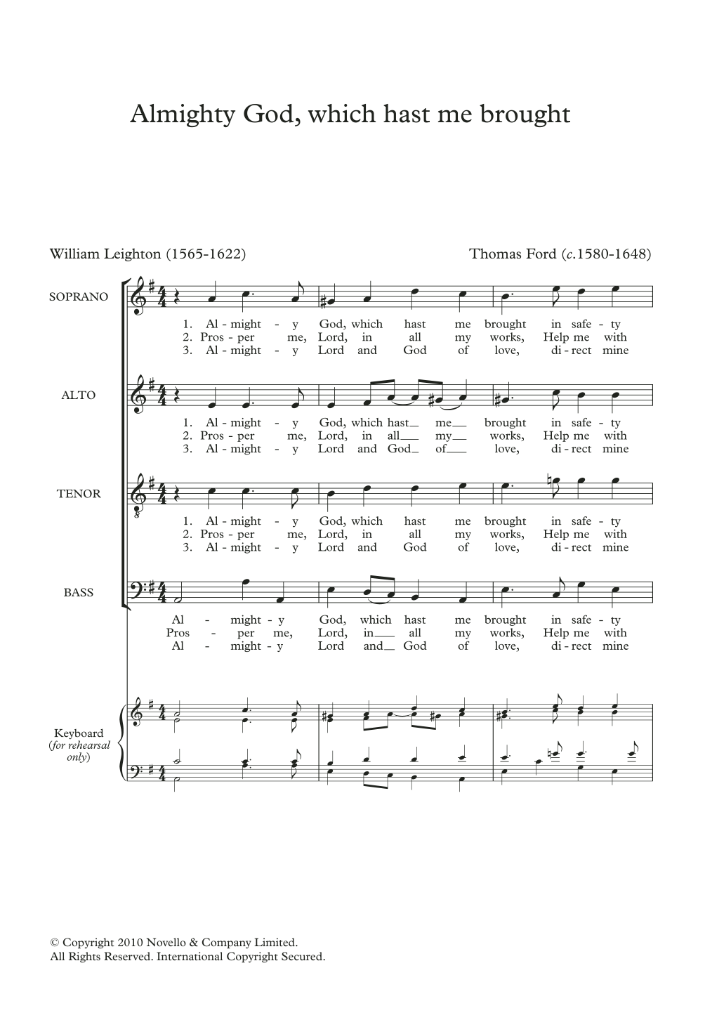 Almighty God, Which Hast Me Brought Sheet Music