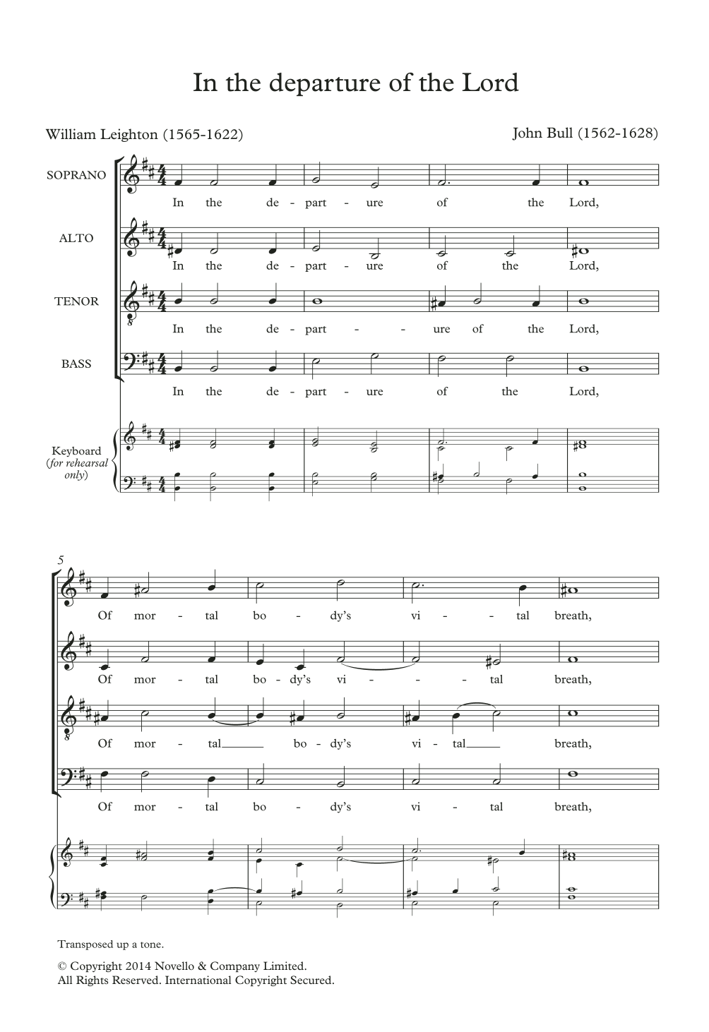 In The Departure Of The Lord Sheet Music