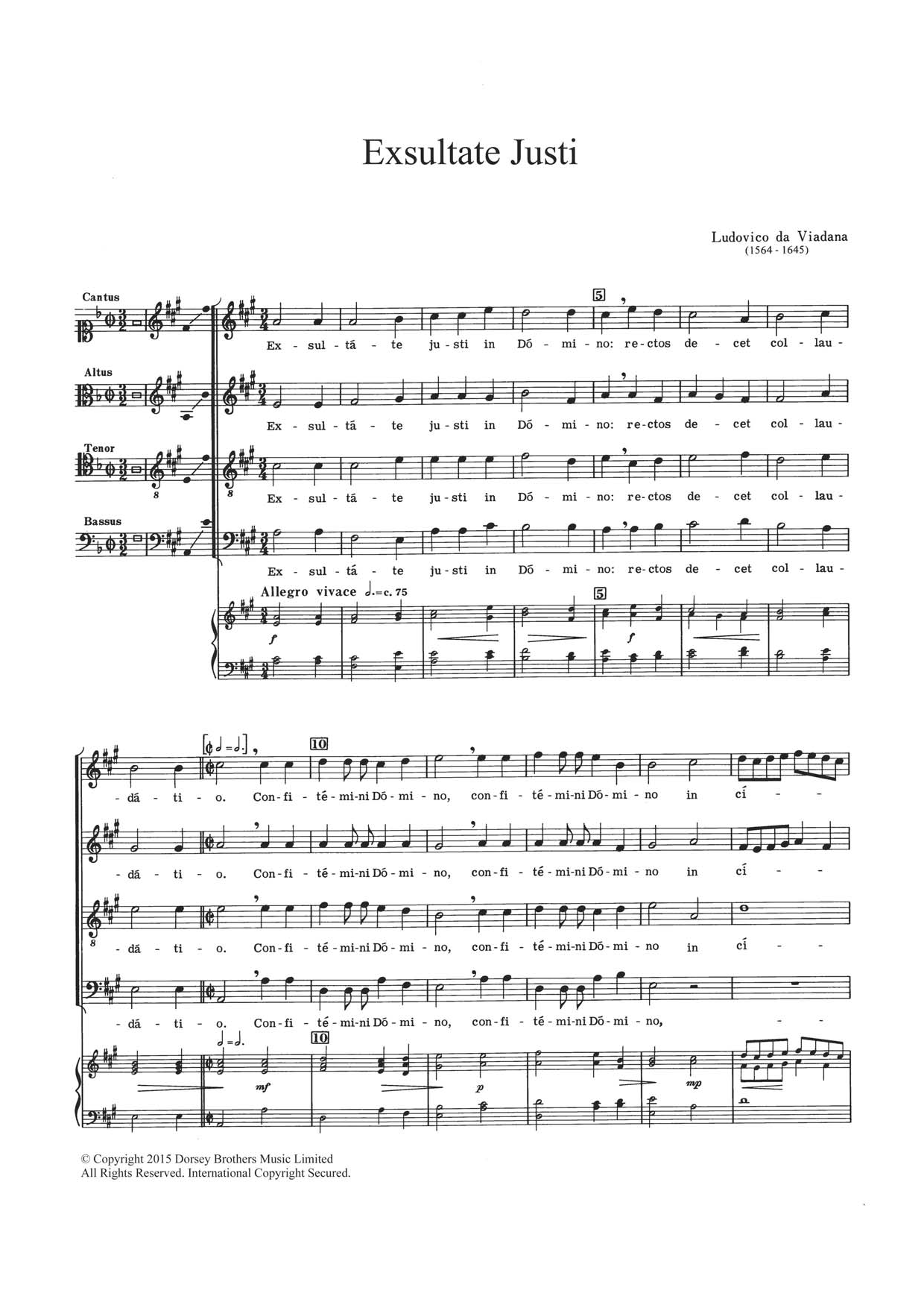 Exsultate Justi Sheet Music
