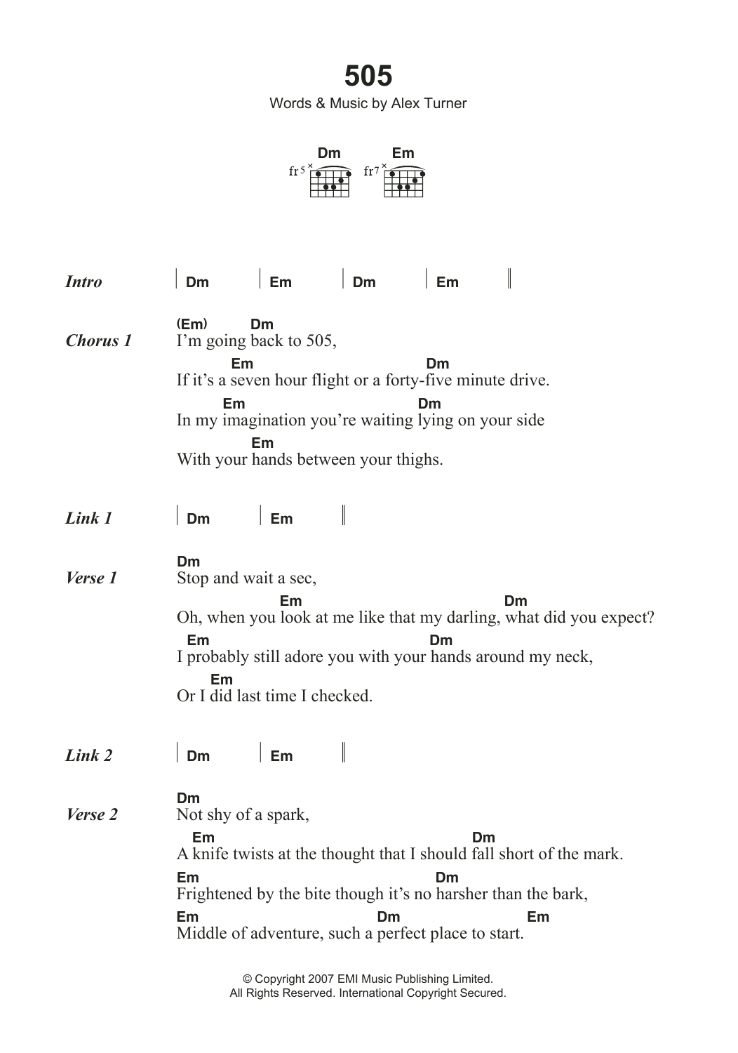 505 Sheet Music Arctic Monkeys Lyrics Chords