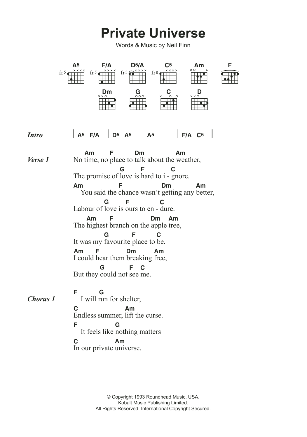Private Universe Sheet Music