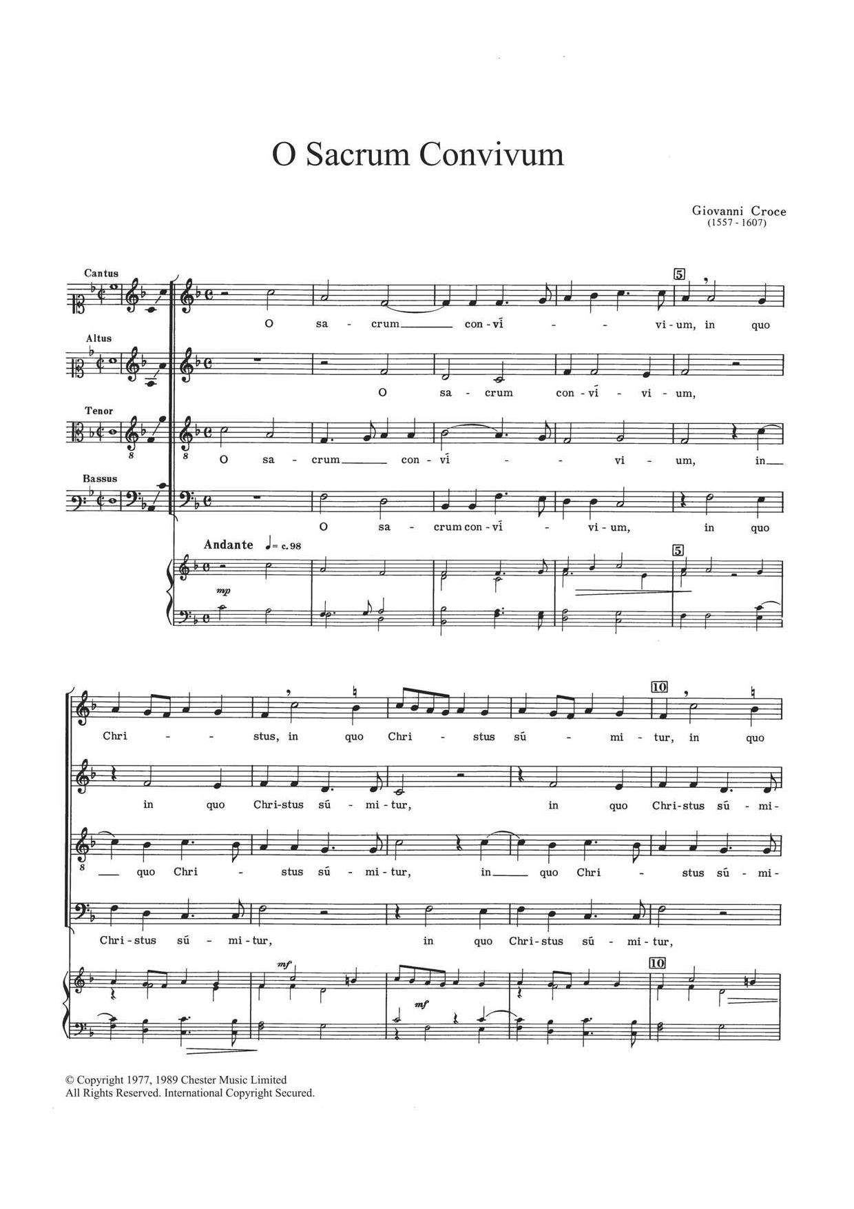 O Sacrum Convivium Sheet Music