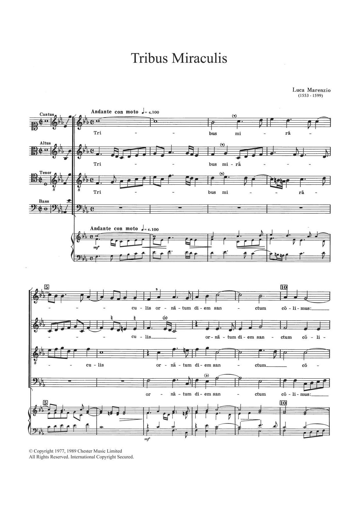 Tribus Miraculis Sheet Music