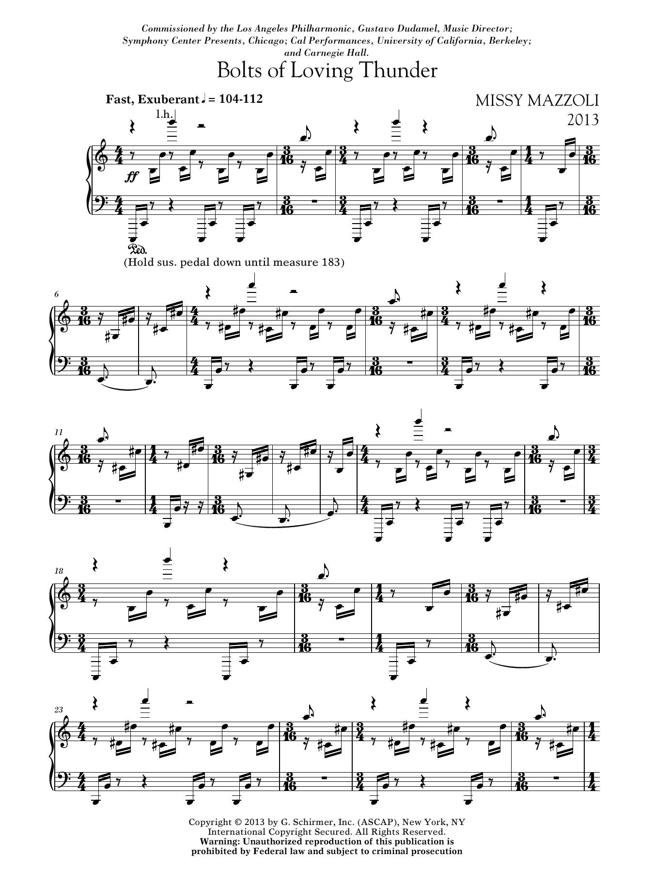 Bolts Of Loving Thunder Sheet Music