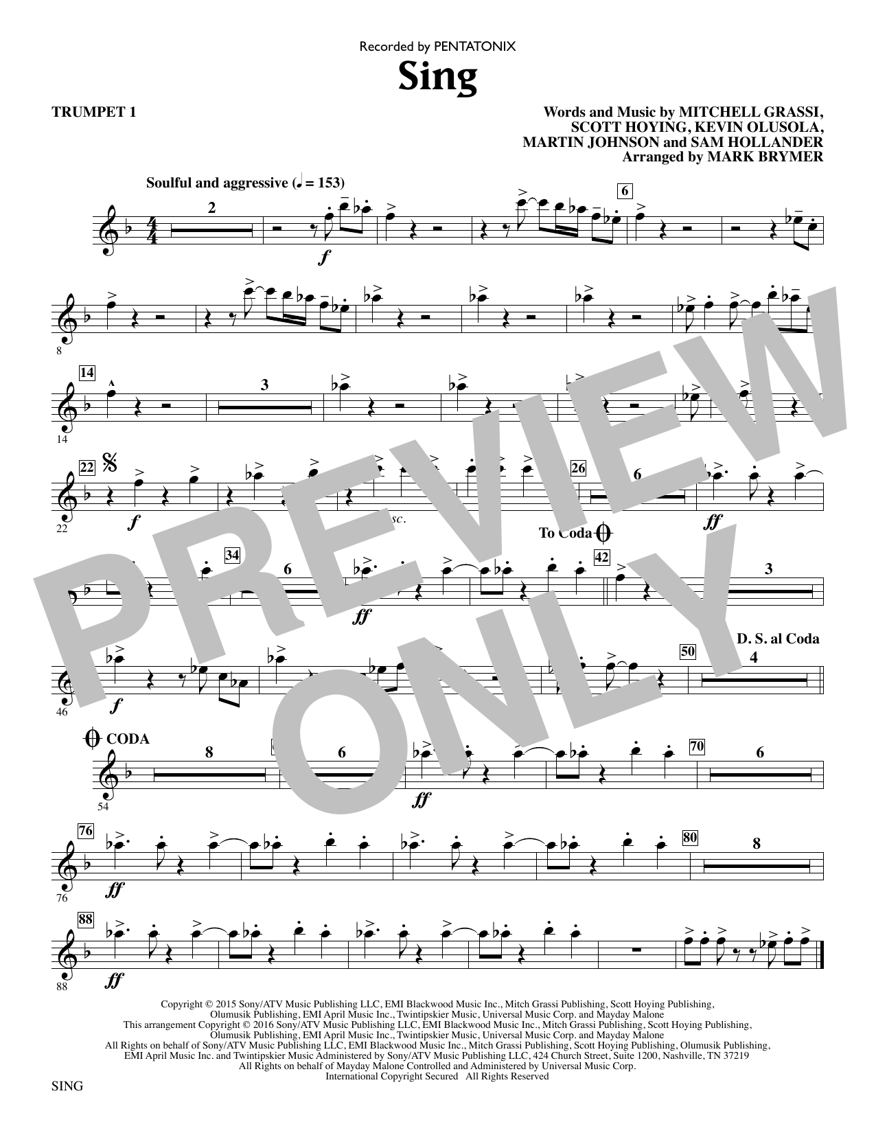 Sing (complete set of parts) sheet music for orchestra/band by Scott Hoying, Kevin Olusola, Mark Brymer, Martin Johnson and Sam Hollander. Score Image Preview.