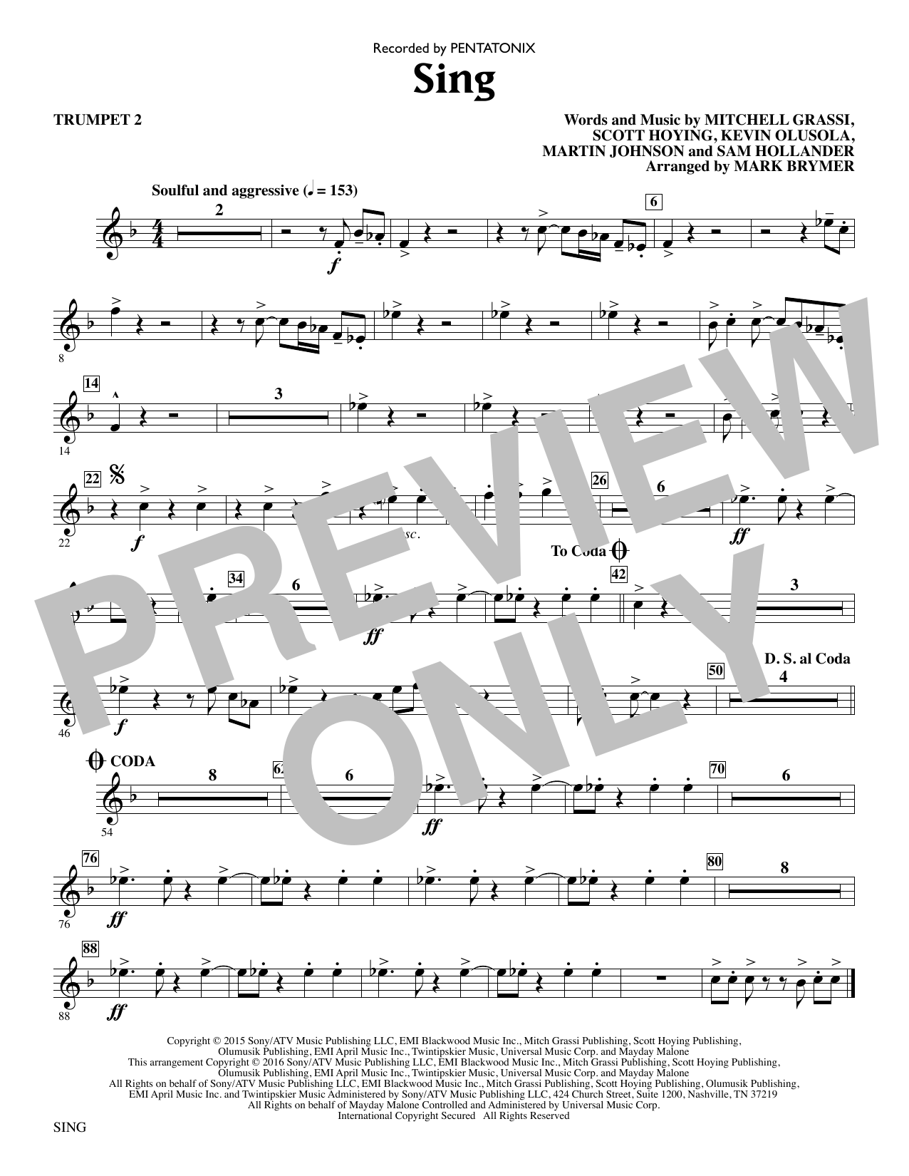 Sing - Trumpet 2 Sheet Music