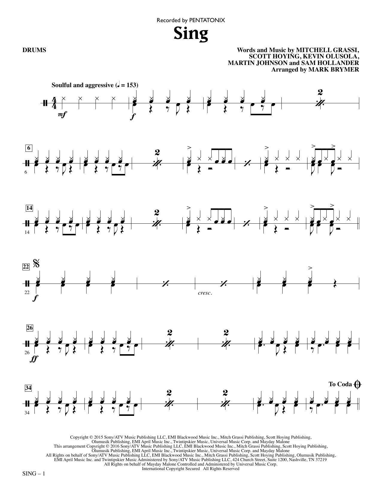 Sing - Drums Sheet Music