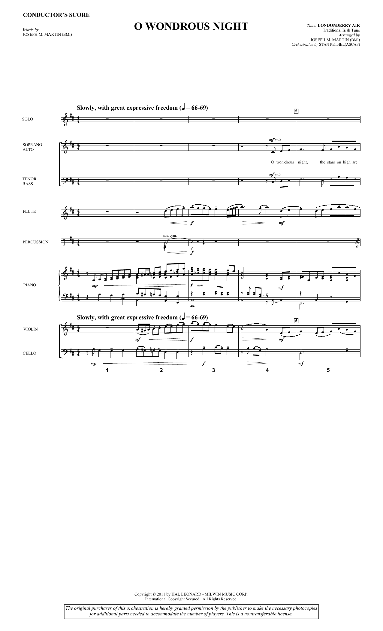O Wondrous Night (COMPLETE) sheet music for orchestra/band by Joseph M. Martin and Traditional Irish Tune. Score Image Preview.