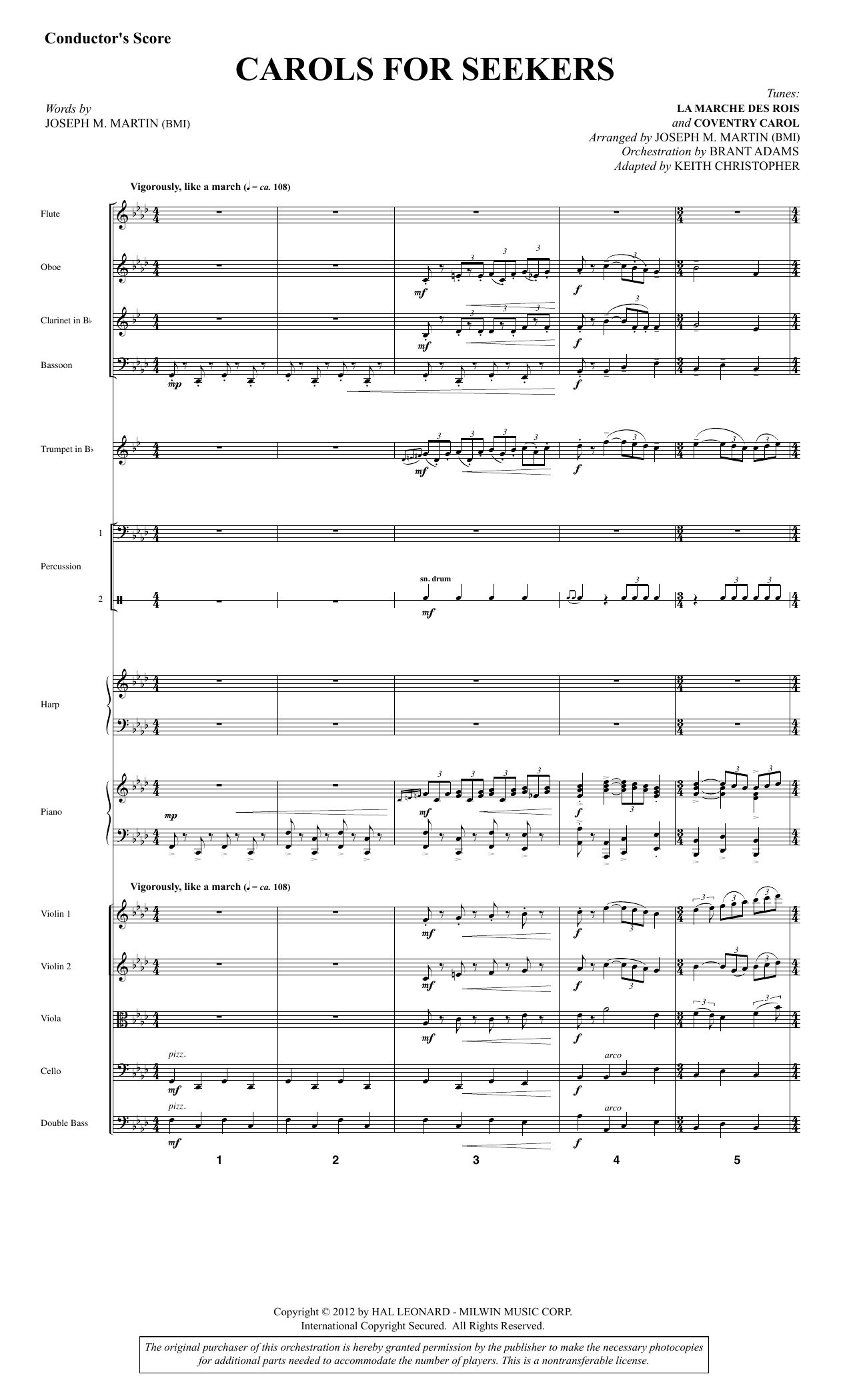 Carols for Seekers (COMPLETE) sheet music for orchestra/band by Joseph M. Martin. Score Image Preview.
