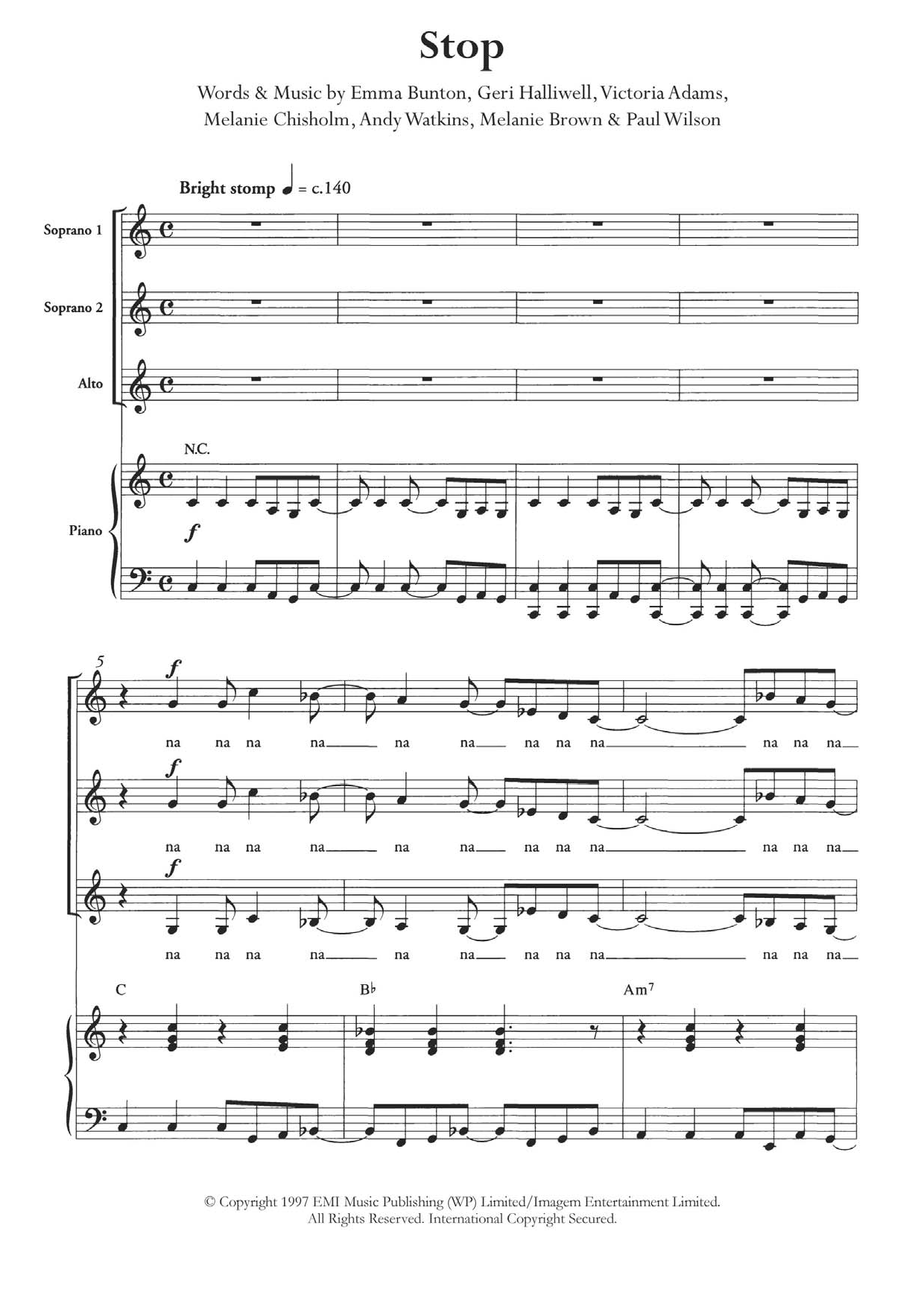 Stop (arr. Berty Rice) Sheet Music