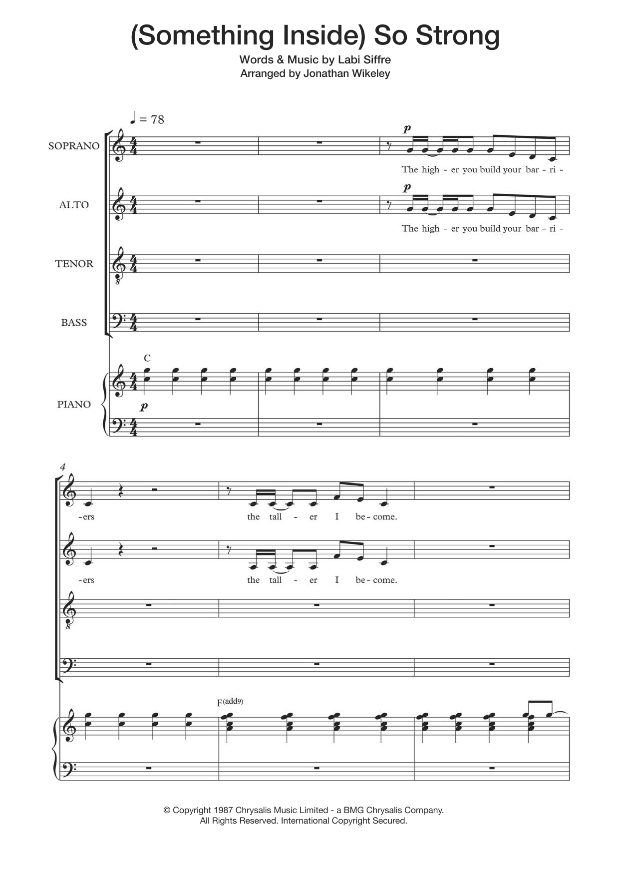 (Something Inside) So Strong (arr. Jonathan Wikeley) Sheet Music