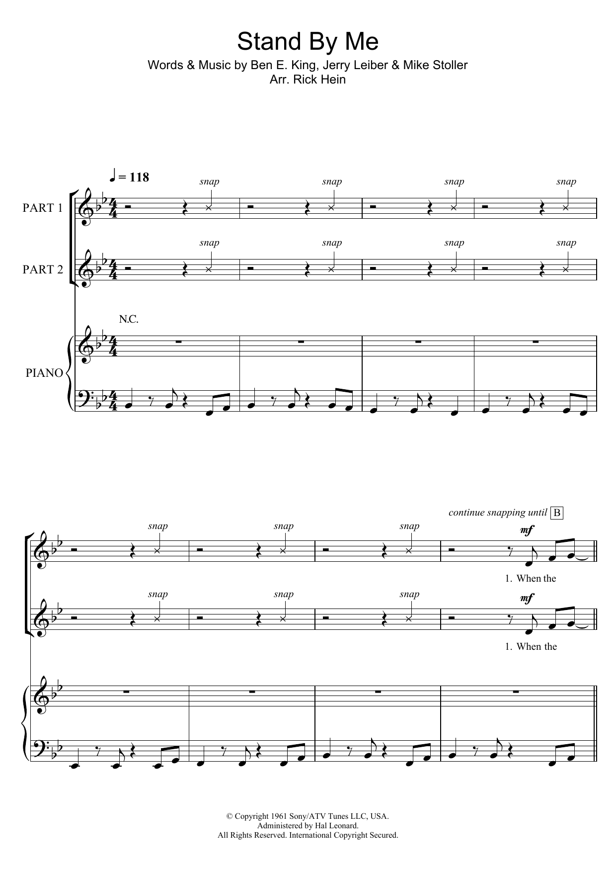 Stand By Me (arr. Rick Hein) Sheet Music