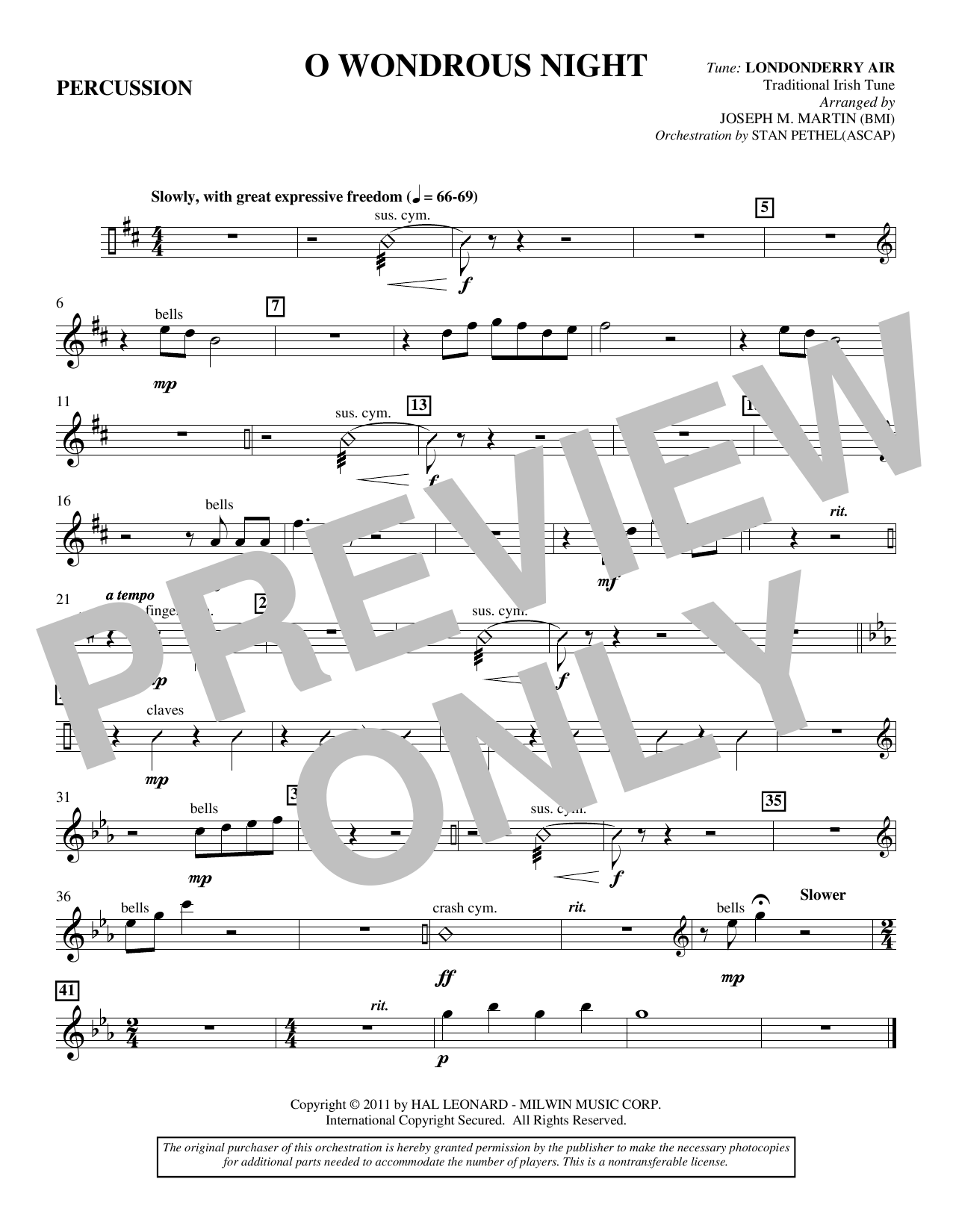 O Wondrous Night - Percussion Sheet Music