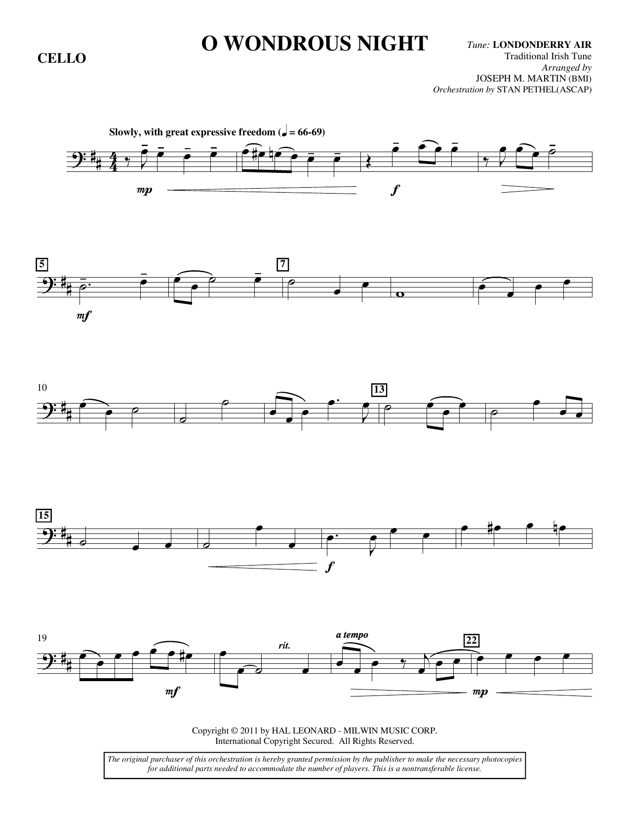 O Wondrous Night - Cello Sheet Music