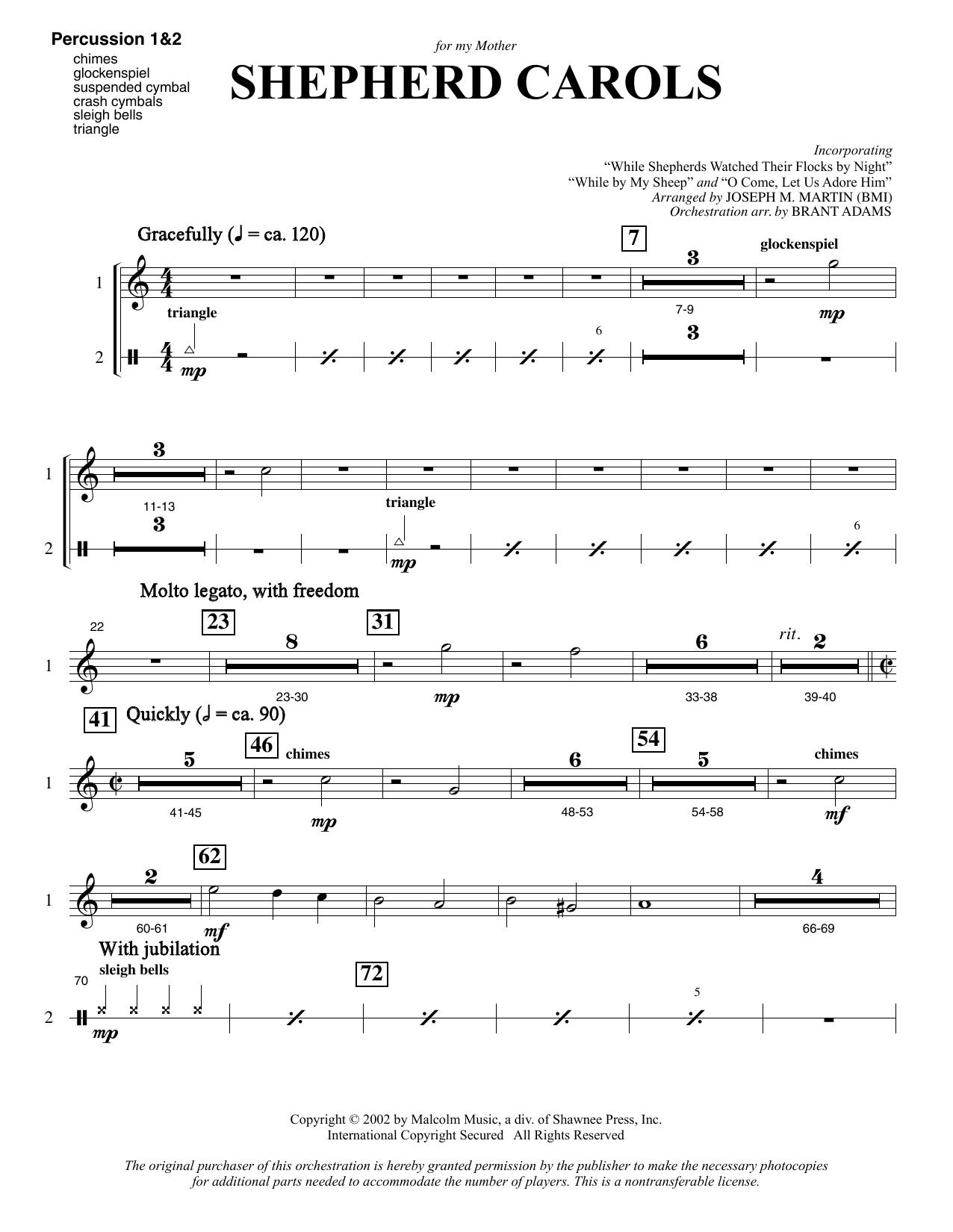 Shepherd Carols - Percussion 1 & 2 Sheet Music