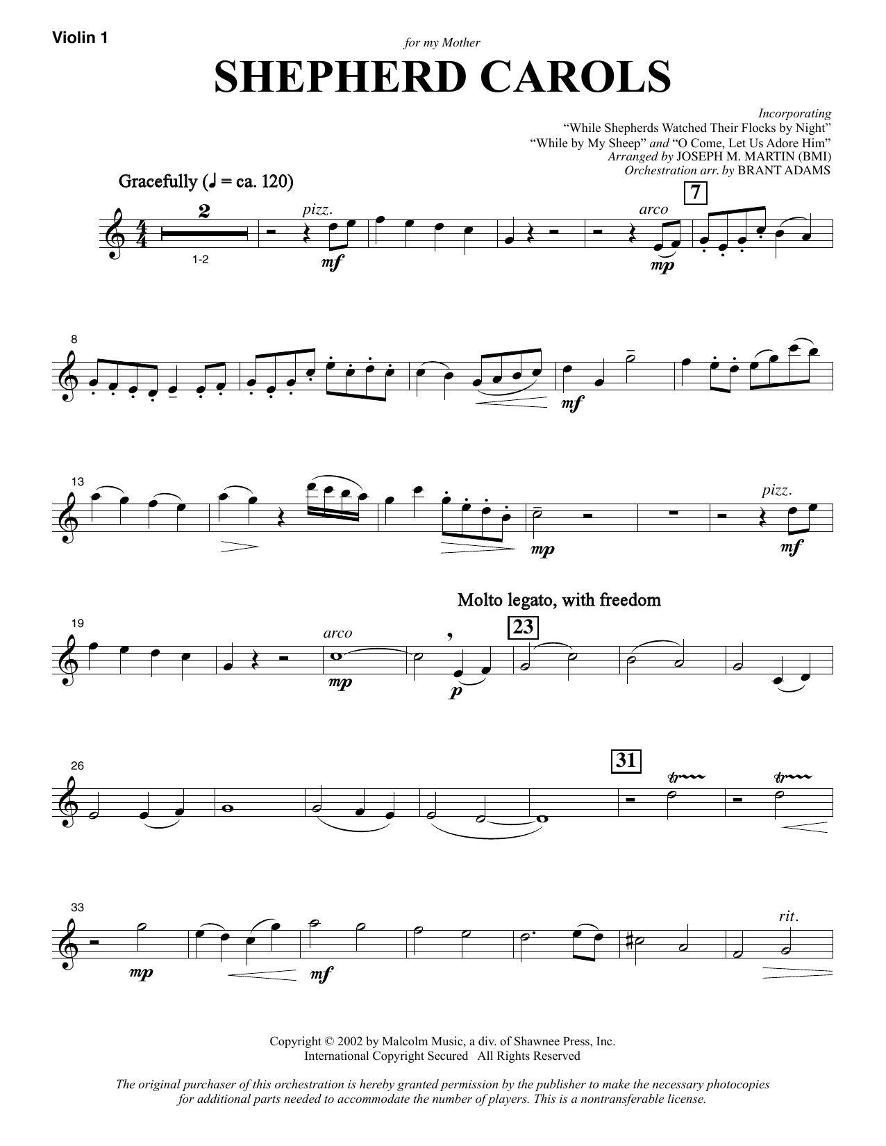 Shepherd Carols - Violin 1 (Choir Instrumental Pak)