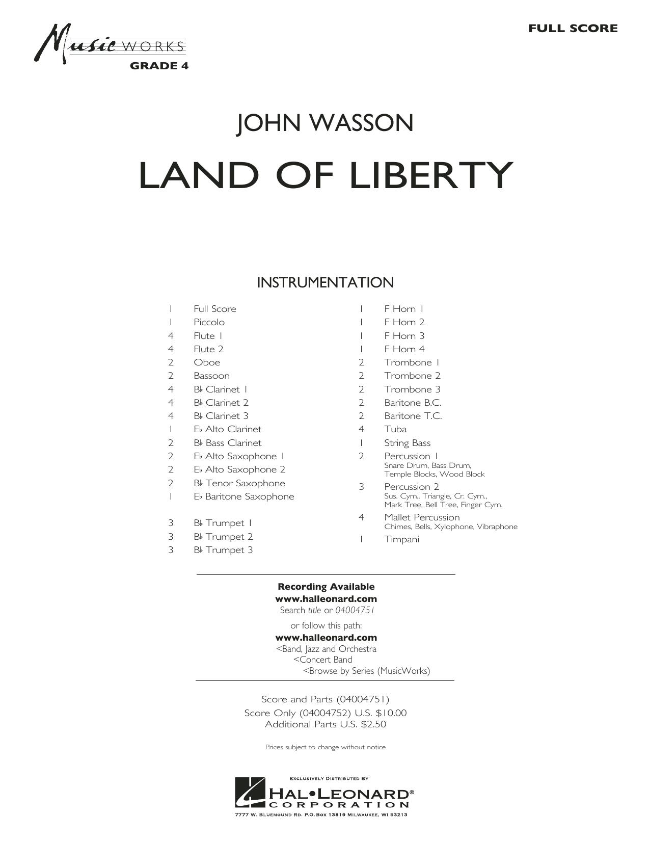 Land of Liberty - Conductor Score (Full Score) (Concert Band)