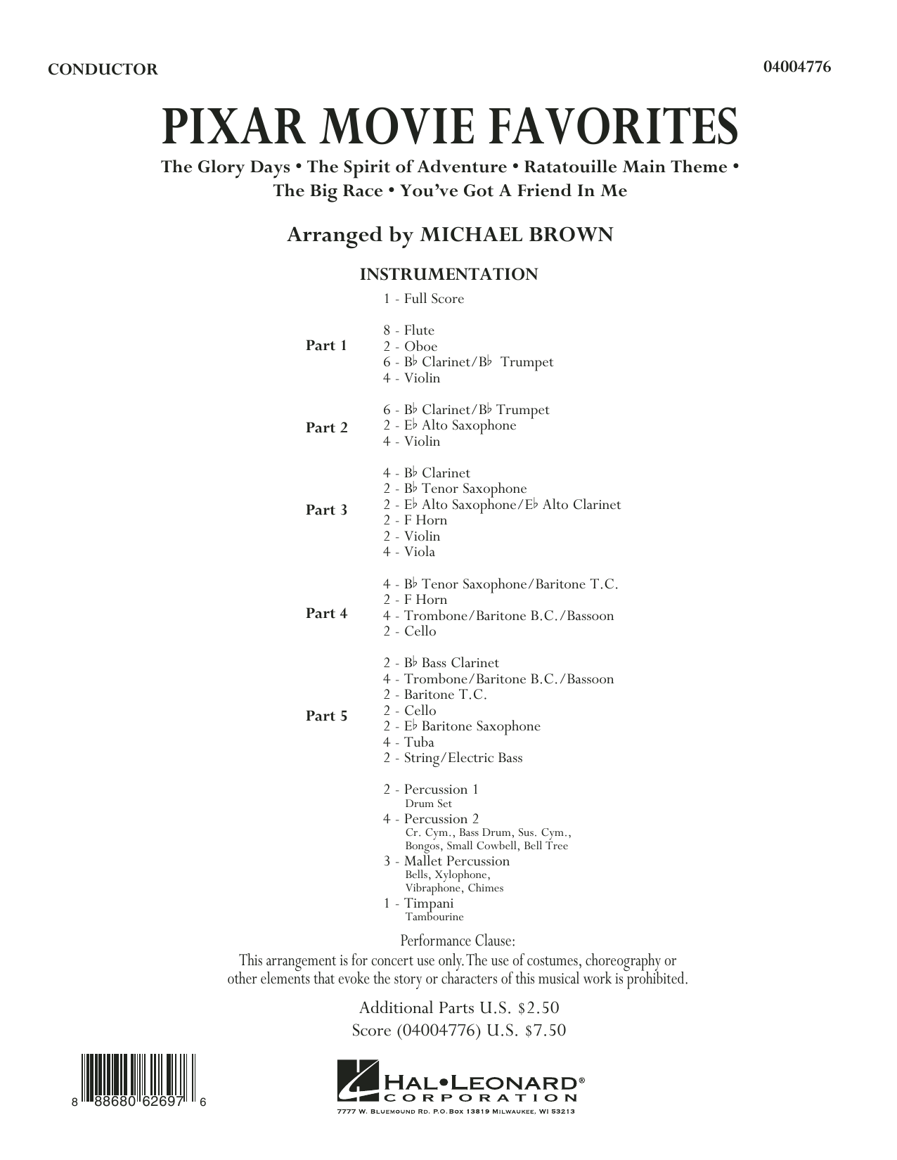 Pixar Movie Favorites (COMPLETE) sheet music for concert band by Michael Brown. Score Image Preview.