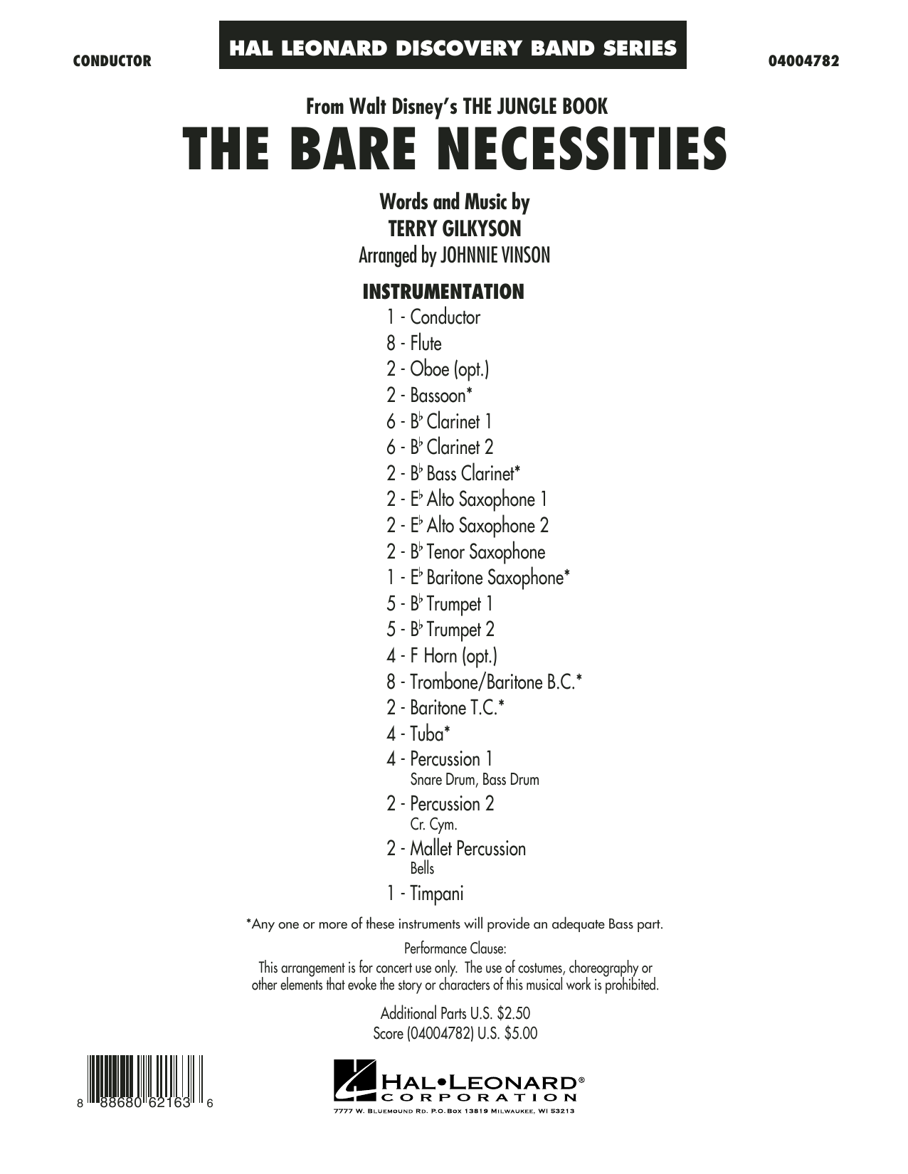The Bare Necessities (COMPLETE) sheet music for concert band by Terry Gilkyson and Johnnie Vinson. Score Image Preview.