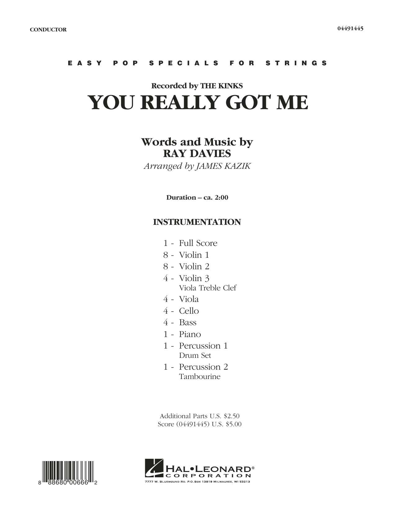 You Really Got Me (COMPLETE) sheet music for orchestra by James Kazik, Edward Van Halen, Ray Davies and The Kinks. Score Image Preview.